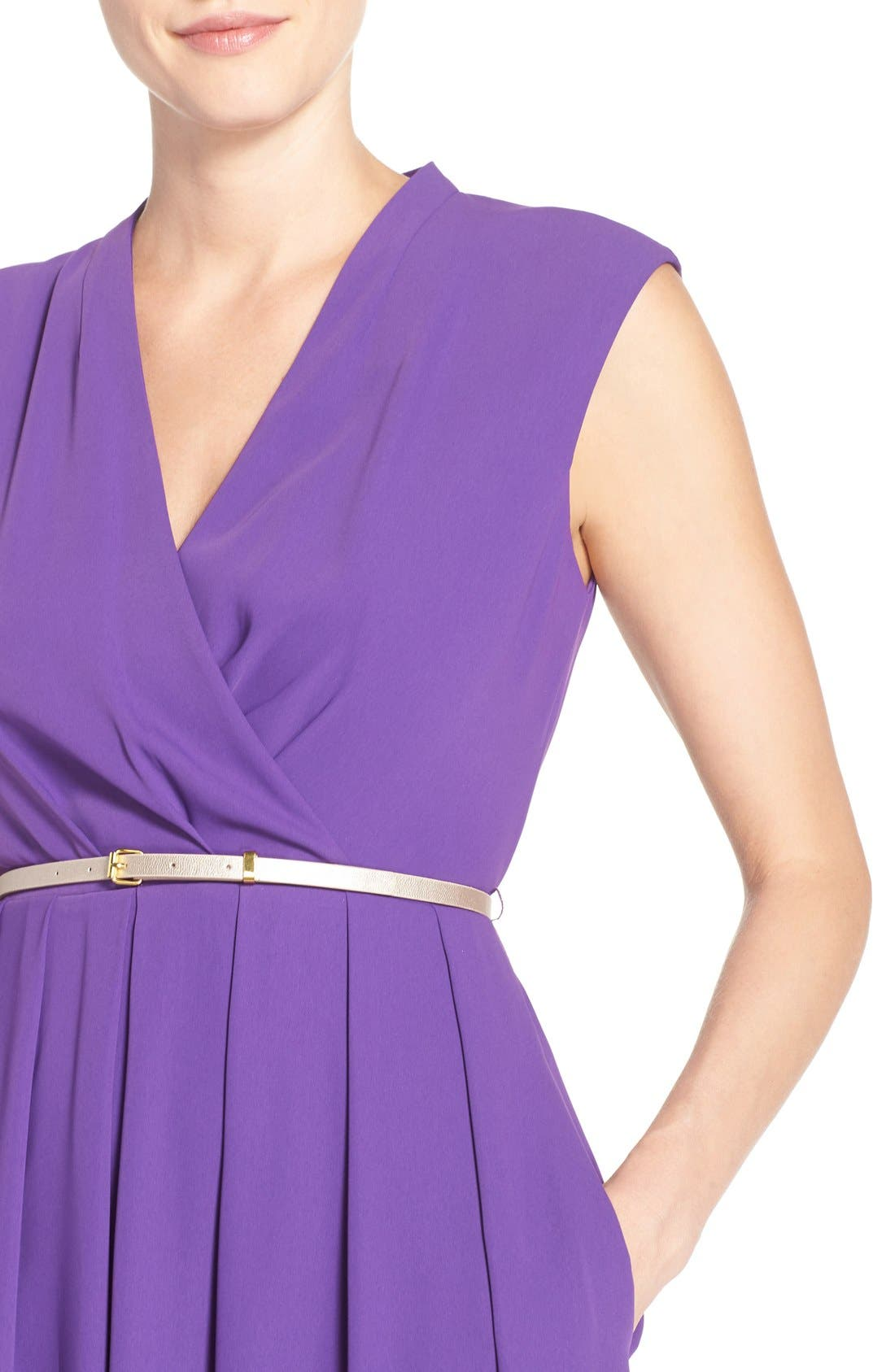Belted Woven Fit & Flare Dress,                             Alternate thumbnail 11, color,
