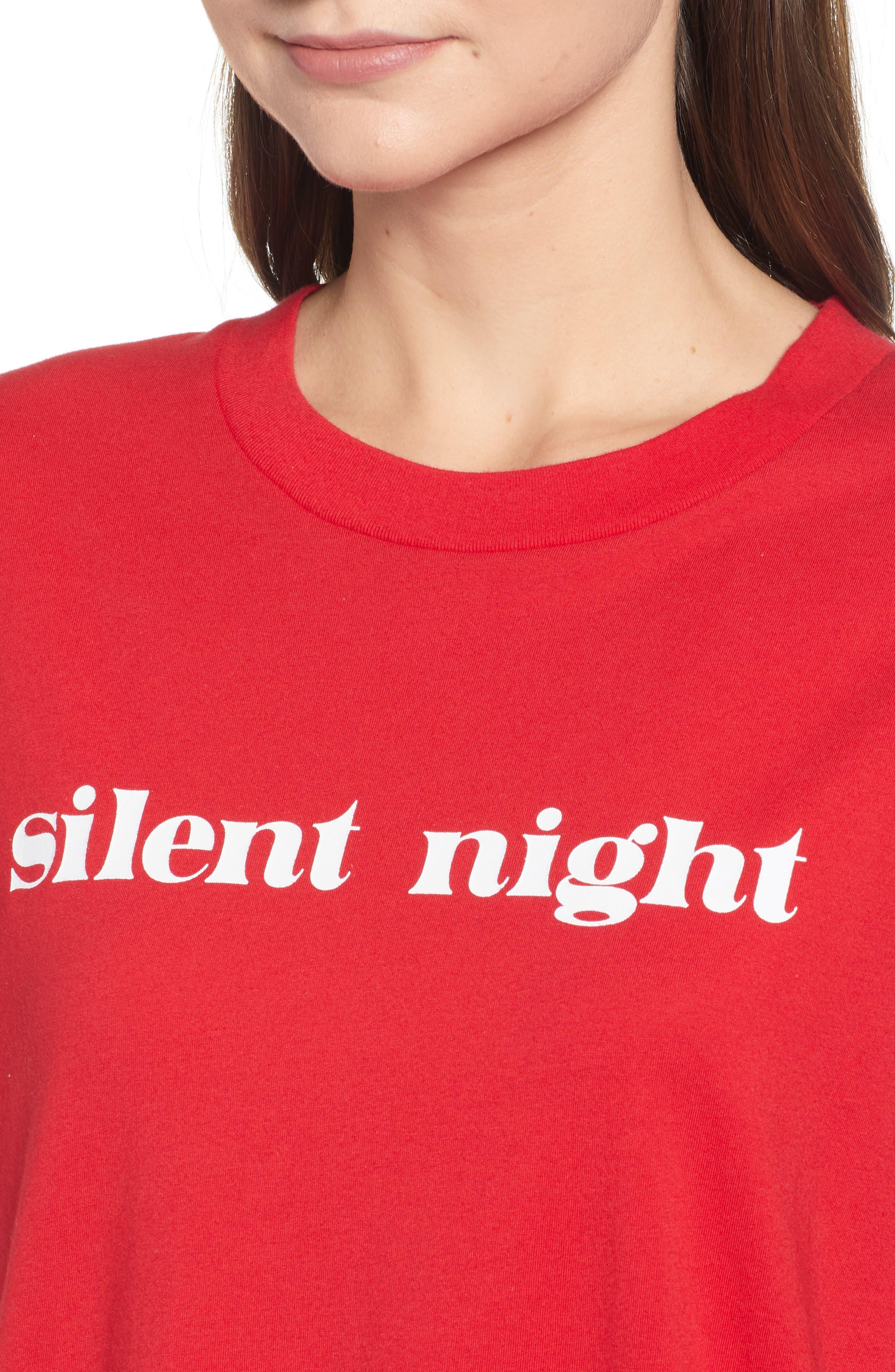 SLEEPY JONES,                             Silent Night Tee,                             Alternate thumbnail 4, color,                             RED