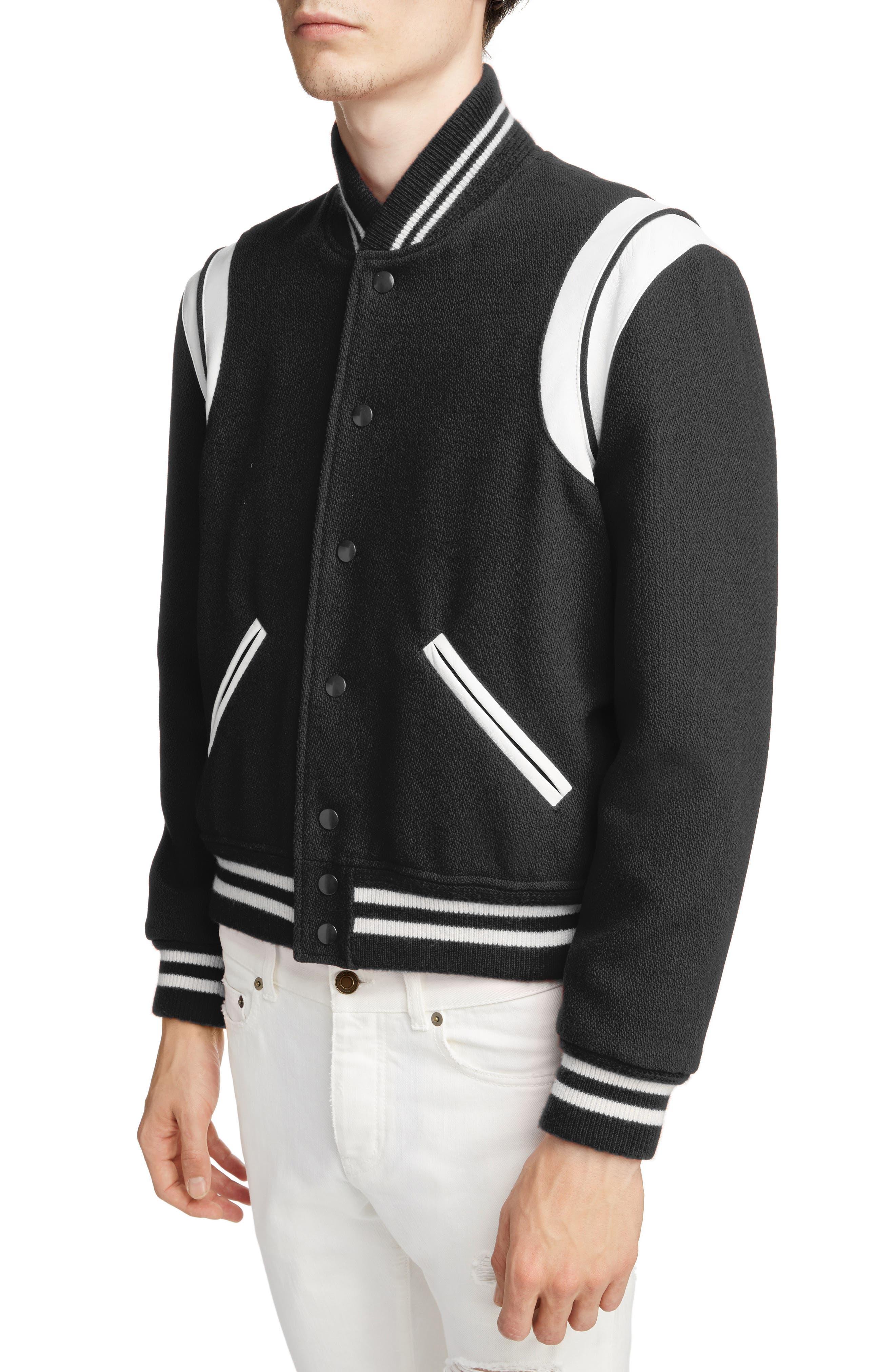 Teddy Wool Varsity Jacket,                             Alternate thumbnail 4, color,                             BLACK