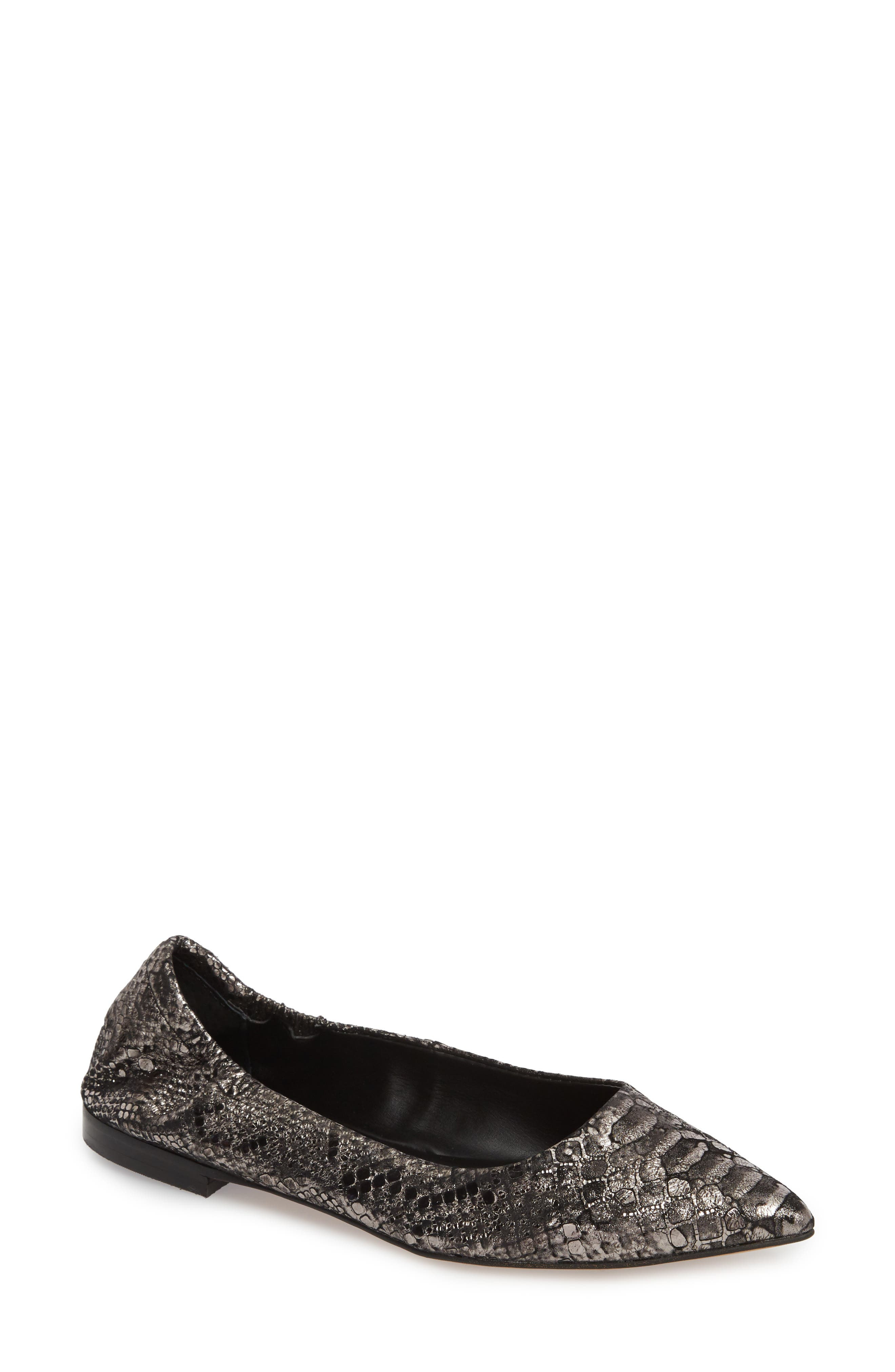 Isola Padra Pointy Toe Flat,                             Main thumbnail 1, color,                             PEWTER LEATHER