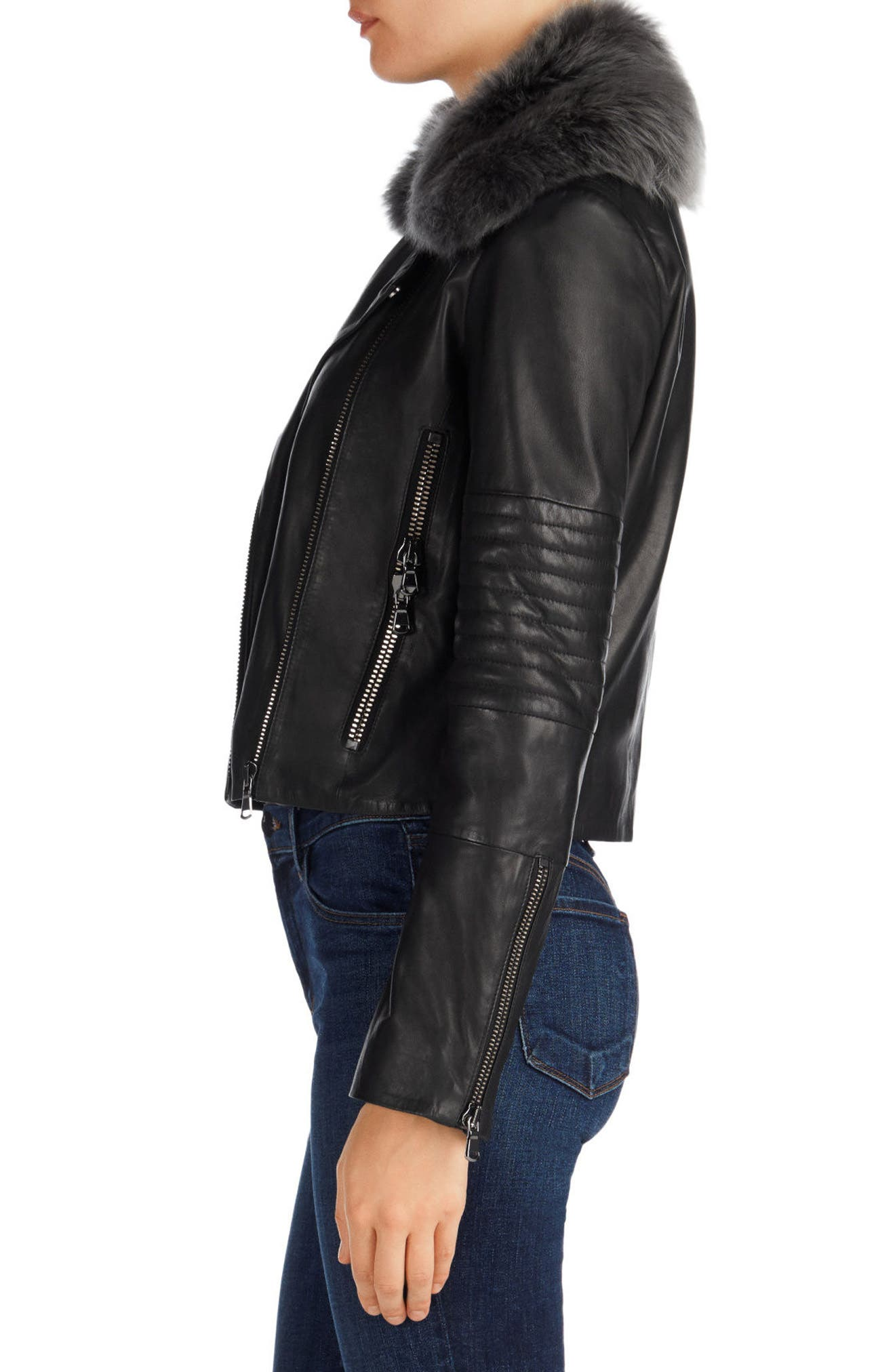 Aiah Leather Moto Jacket with Detachable Lamb Shearling Collar,                             Alternate thumbnail 3, color,                             001