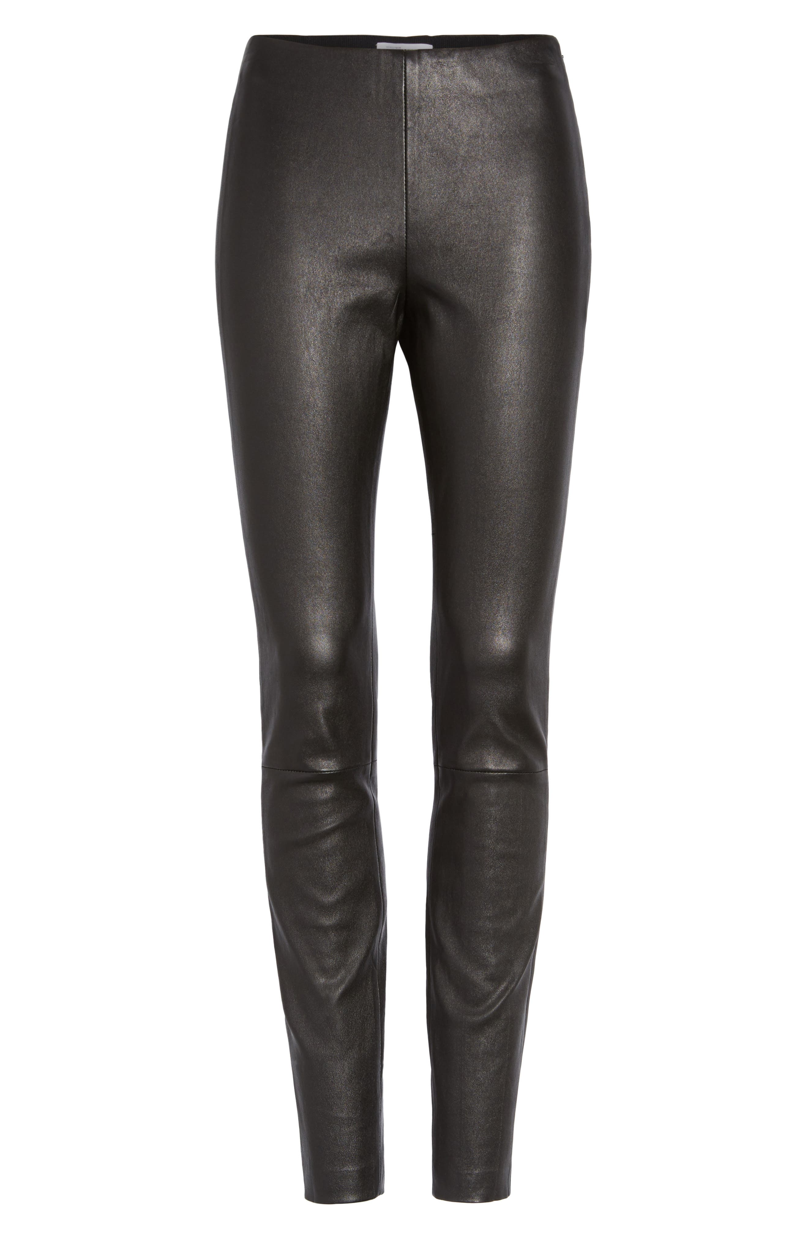Stretch Leather Leggings,                             Alternate thumbnail 6, color,                             001