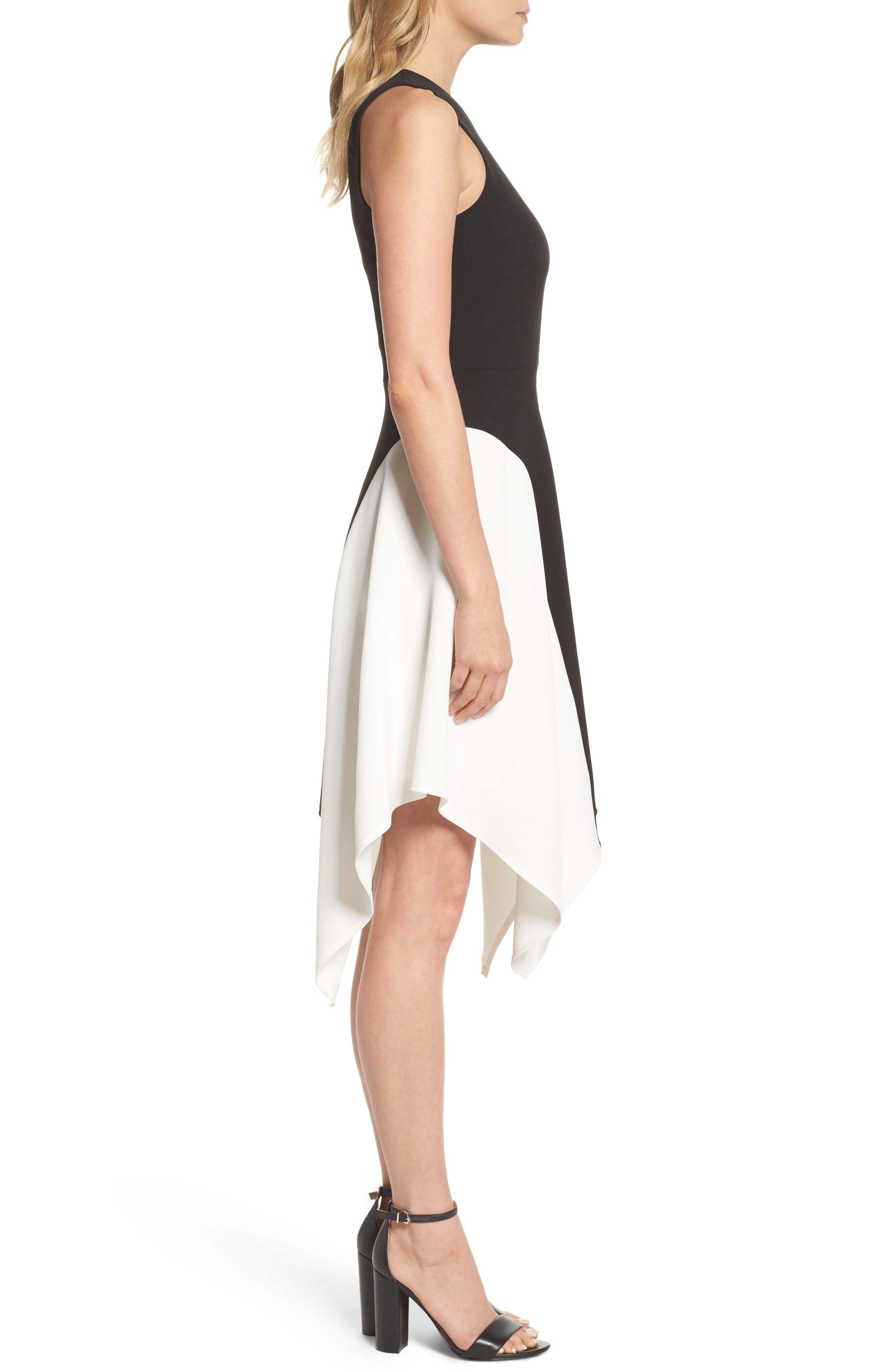 Colorblock Crepe Midi Dress,                             Alternate thumbnail 3, color,                             012