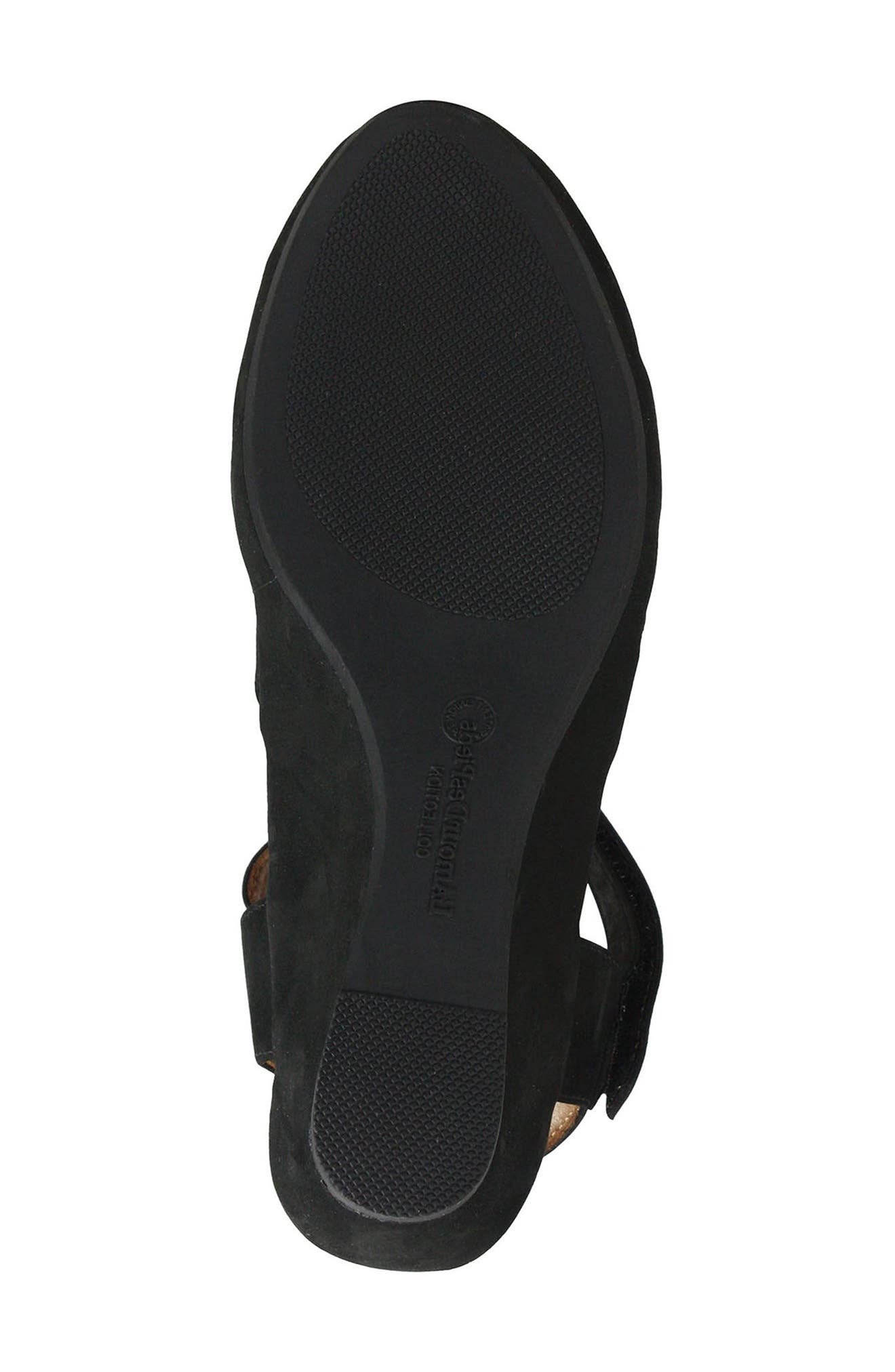 Burcie Wedge Sandal,                             Alternate thumbnail 6, color,                             BLACK NUBUCK LEATHER