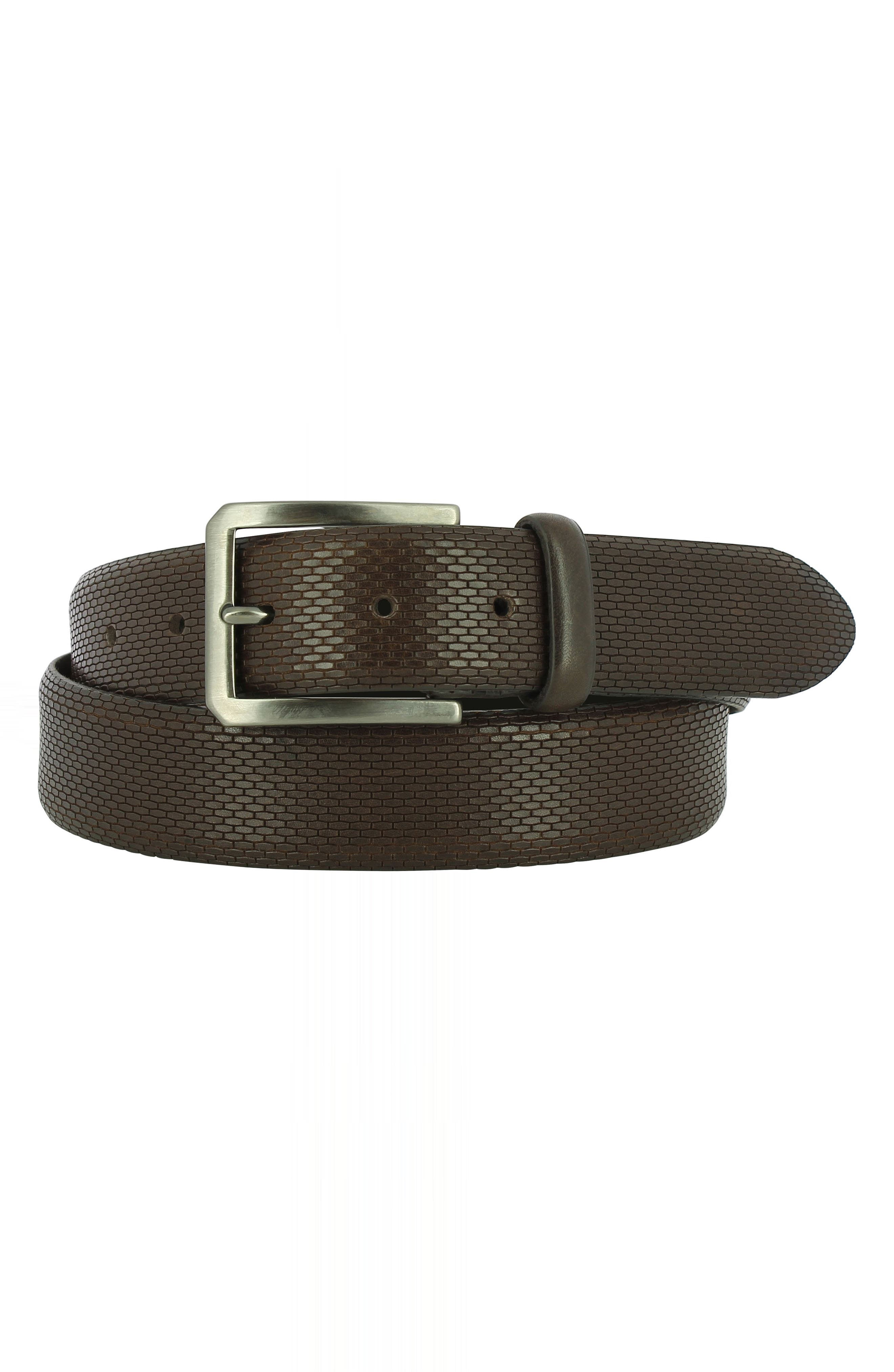 'Bruno' Leather Belt,                             Main thumbnail 1, color,                             CHOCOLATE