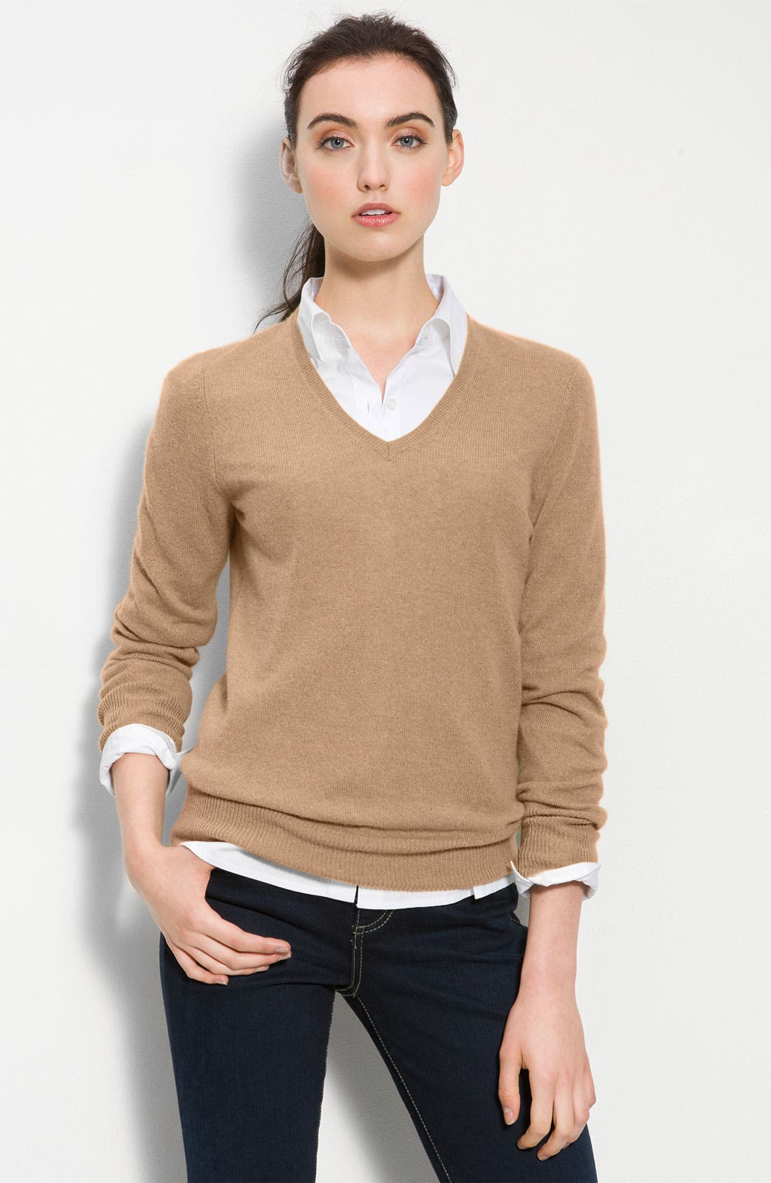 ONLY MINE,                             V-Neck Cashmere Sweater,                             Main thumbnail 1, color,                             336