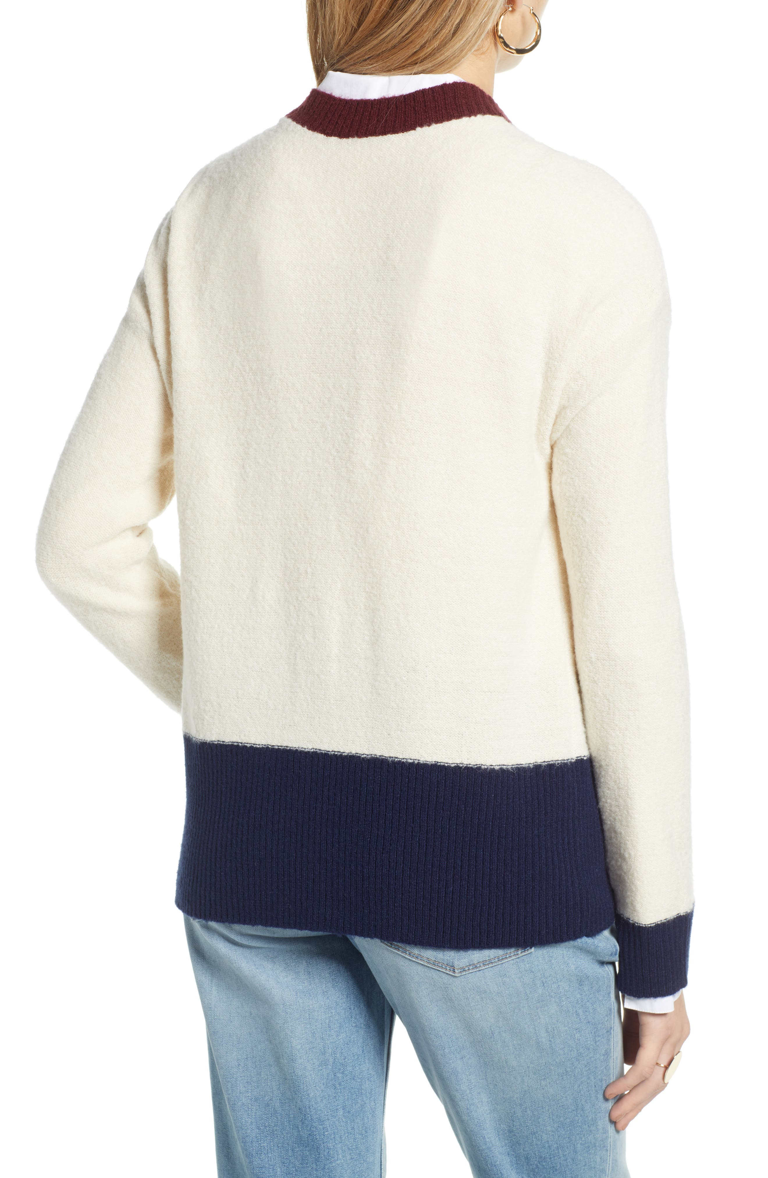 Colorblock V-Neck Cardigan,                             Alternate thumbnail 2, color,                             BEIGE OATMEAL LIGHT HEATHER