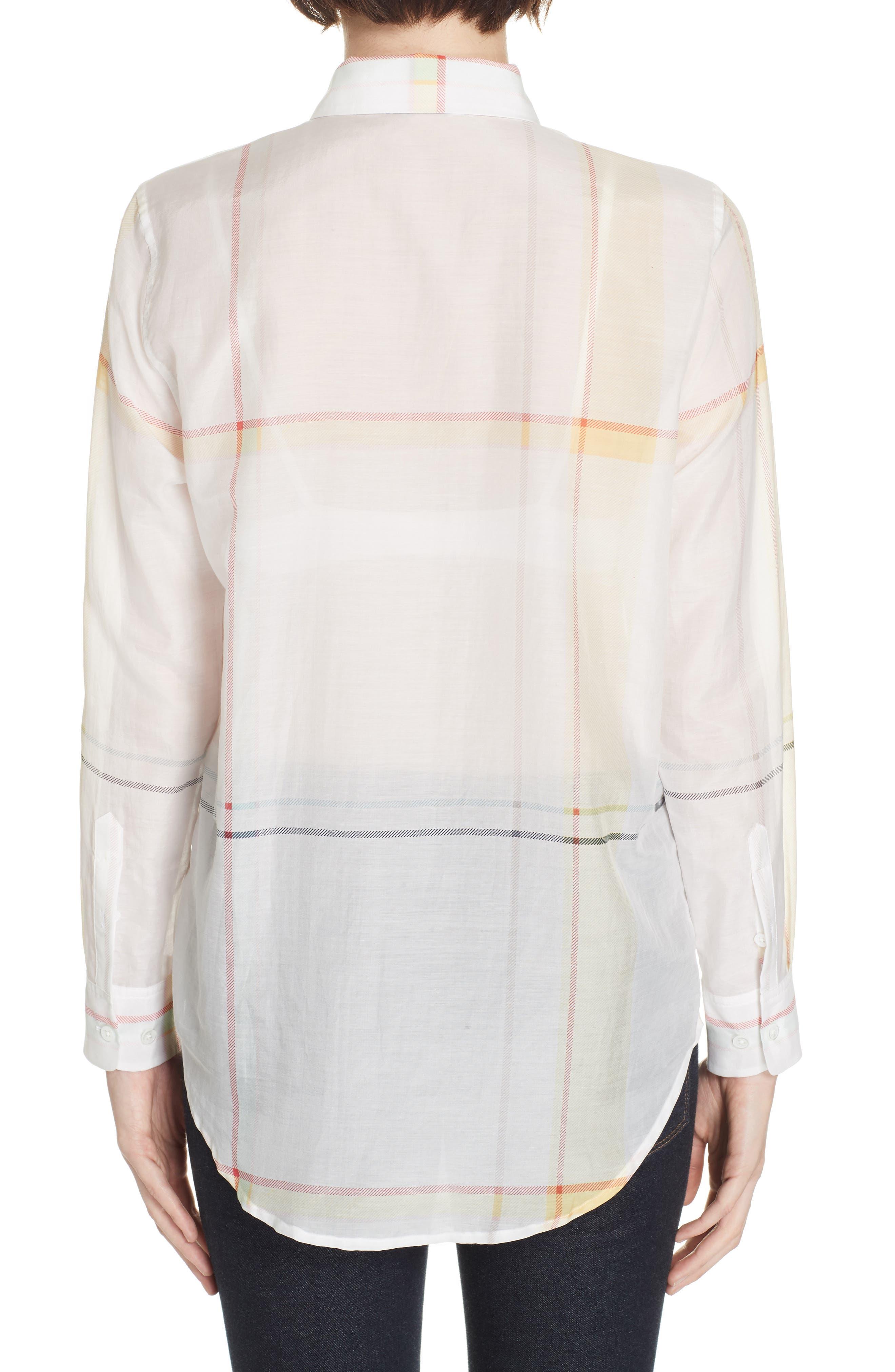 Essential Plaid Cotton & Silk Shirt,                             Alternate thumbnail 2, color,                             NATURE WHITE MULTI