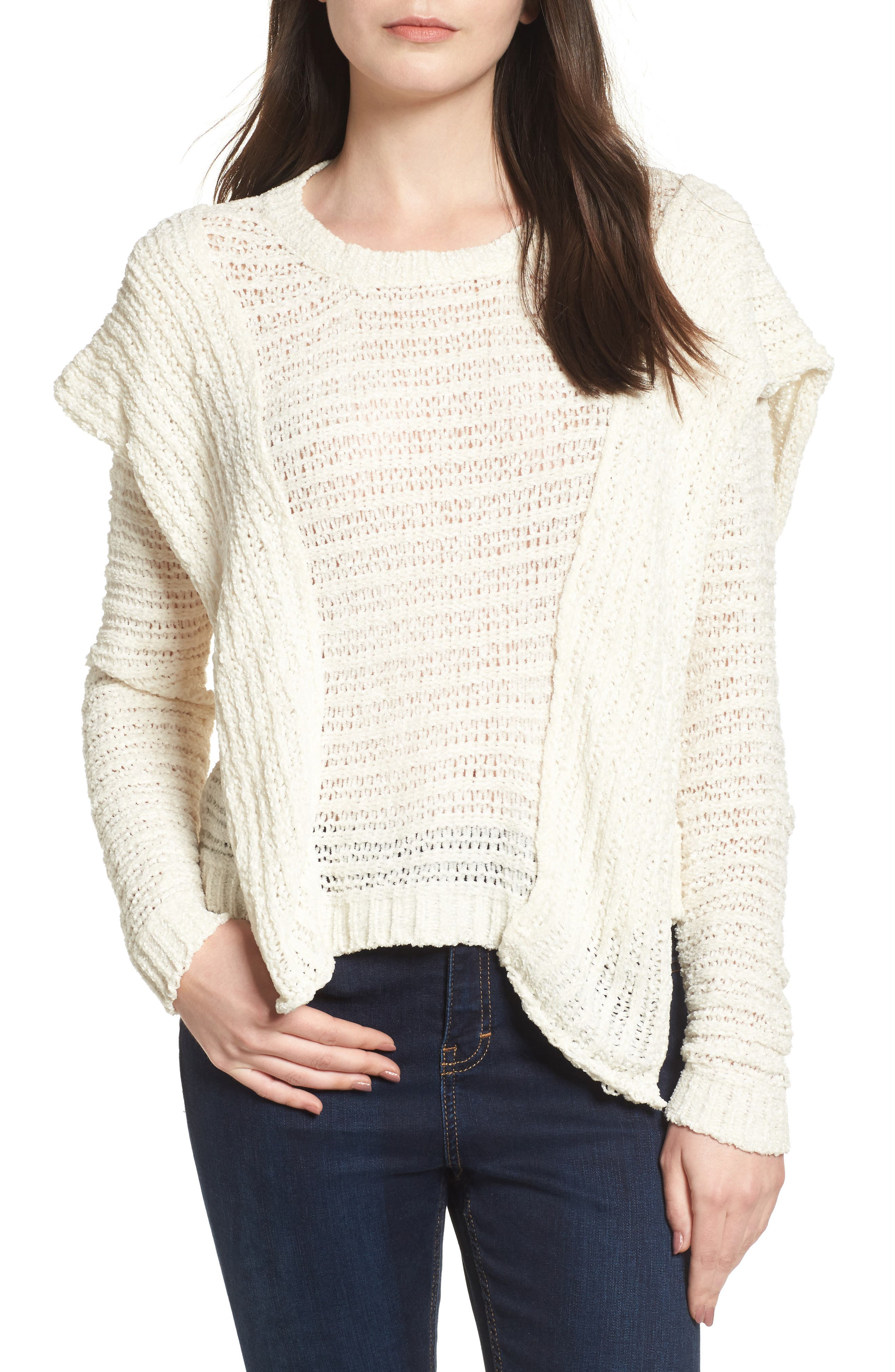 Ruffle Chenille Sweater,                             Main thumbnail 1, color,