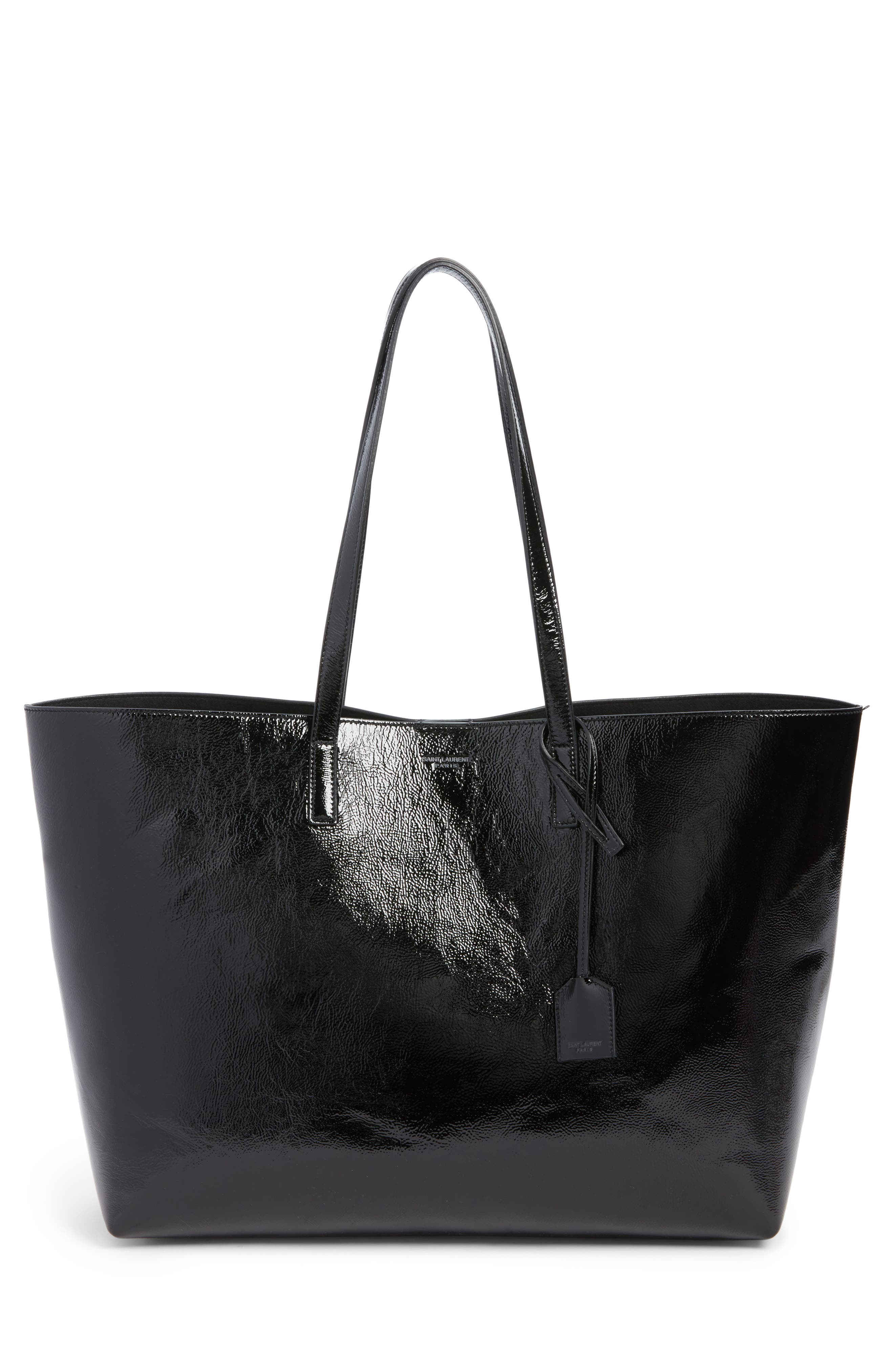 East/West Leather Tote,                             Main thumbnail 1, color,                             001