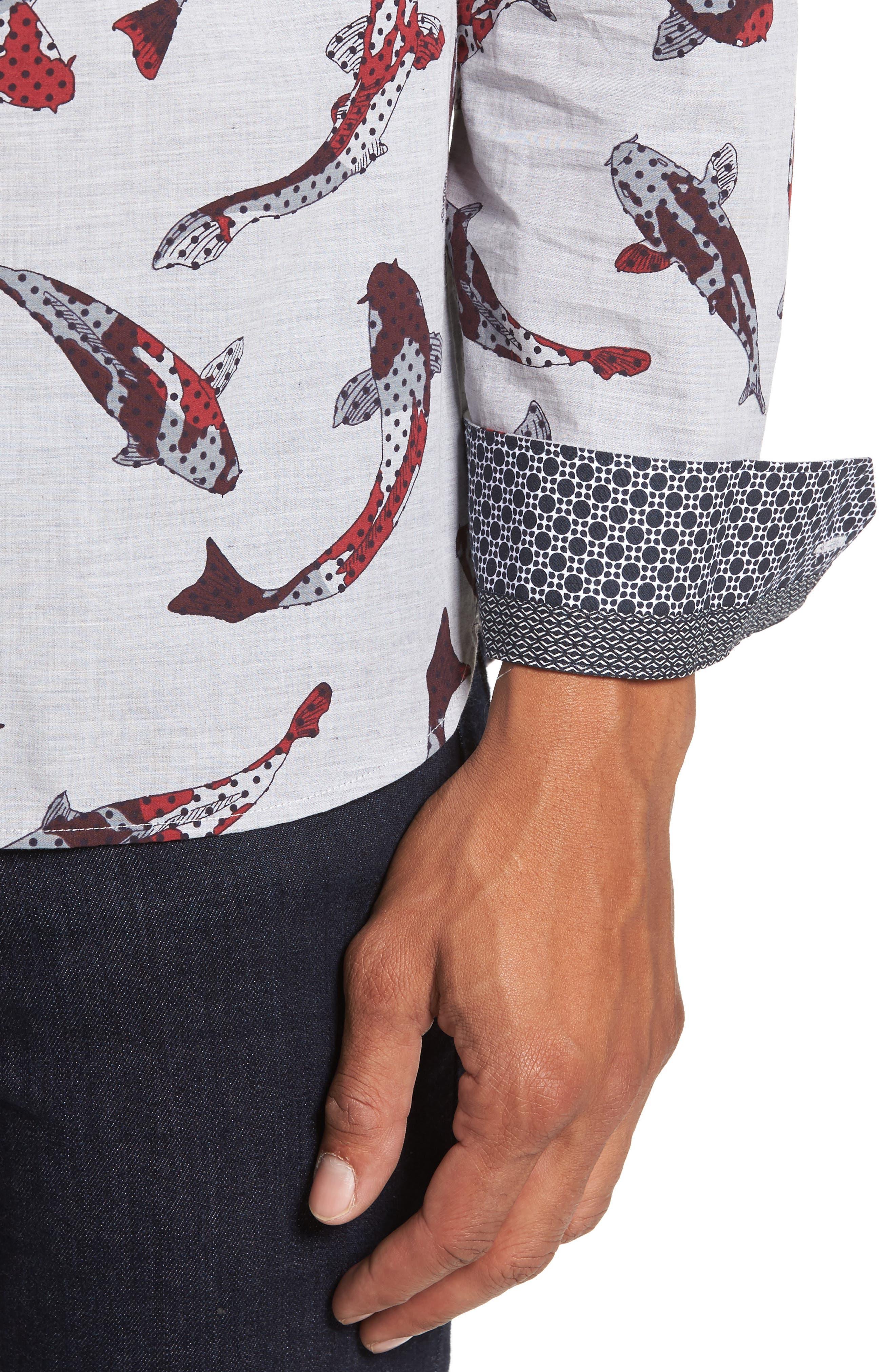 Modern Slim Fit Fish Print Sport Shirt,                             Alternate thumbnail 4, color,                             030
