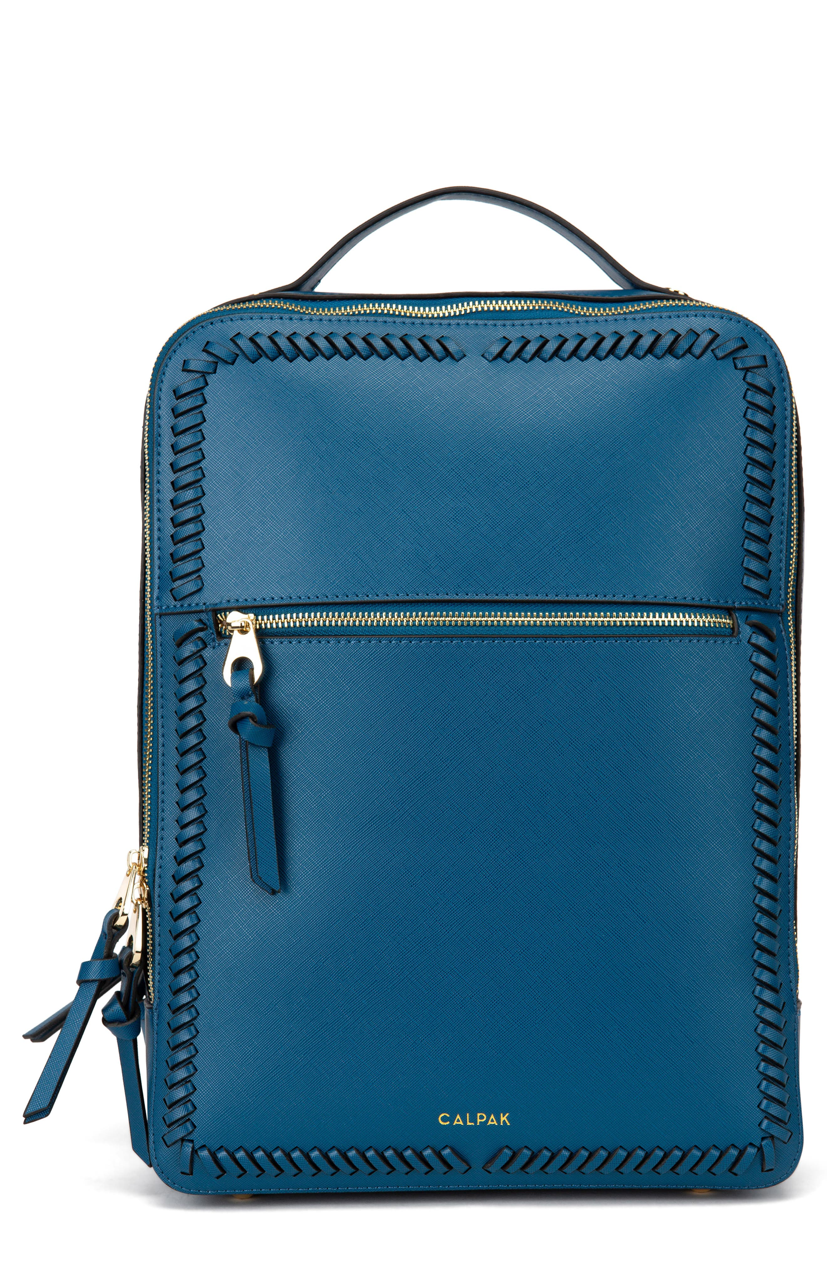 Kaya Faux Leather 15-Inch Laptop Backpack, Main, color, DEEP BLUE