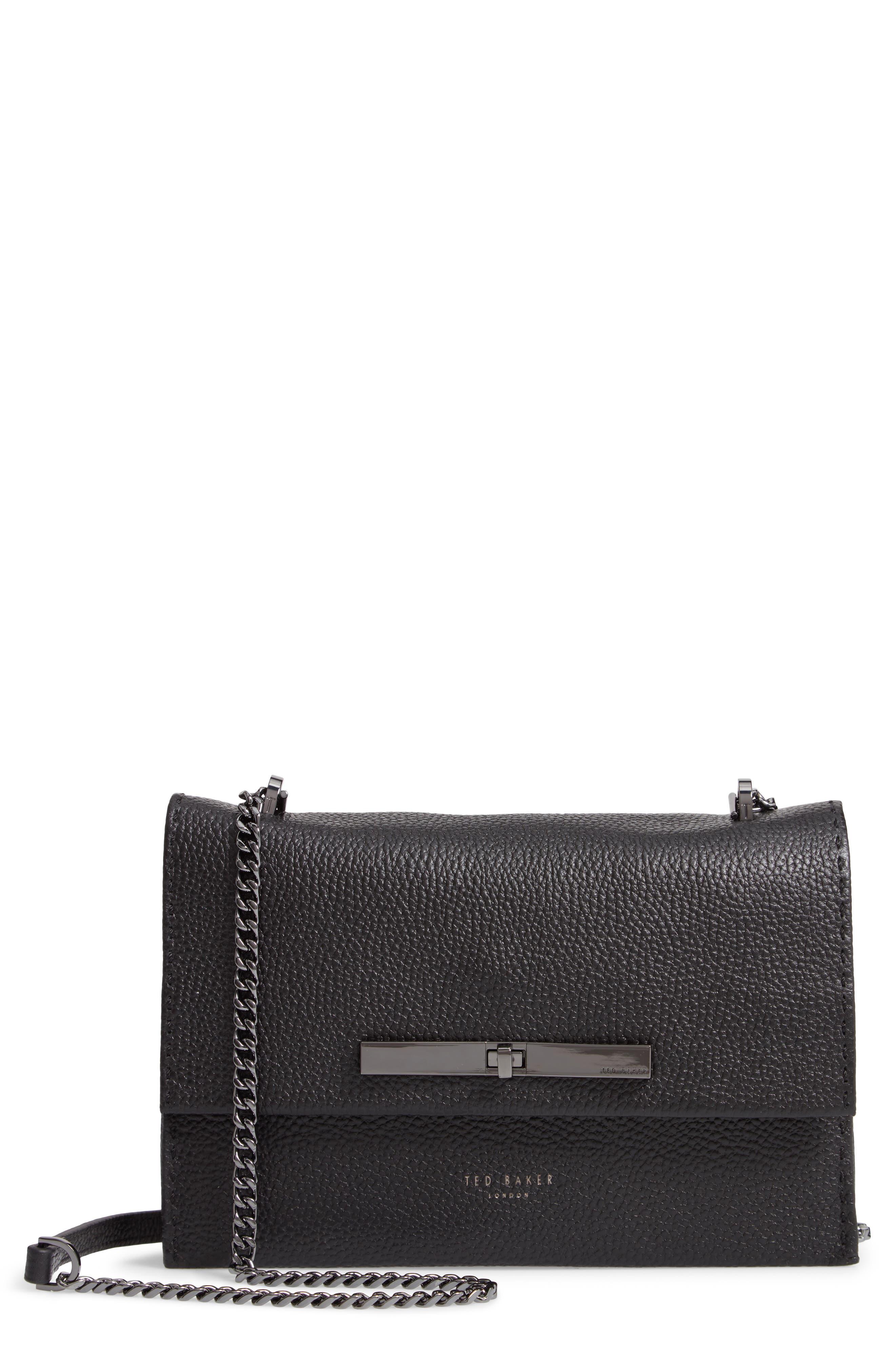 TED BAKER LONDON Jocie Leather Crossbody Bag, Main, color, 001