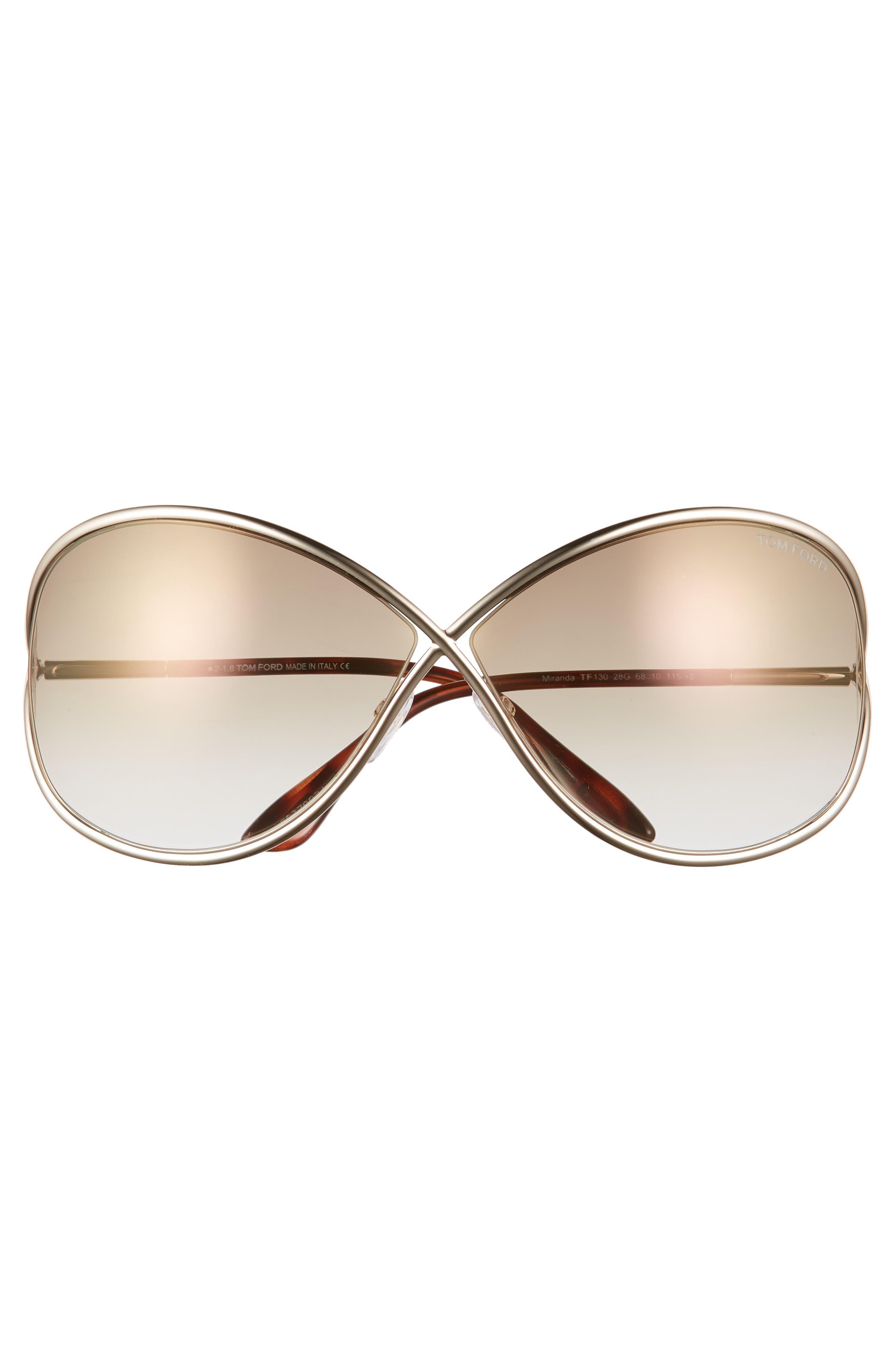 Miranda 68mm Open Temple Oversize Metal Sunglasses,                             Alternate thumbnail 3, color,                             SHINY ROSE GOLD/ BROWN