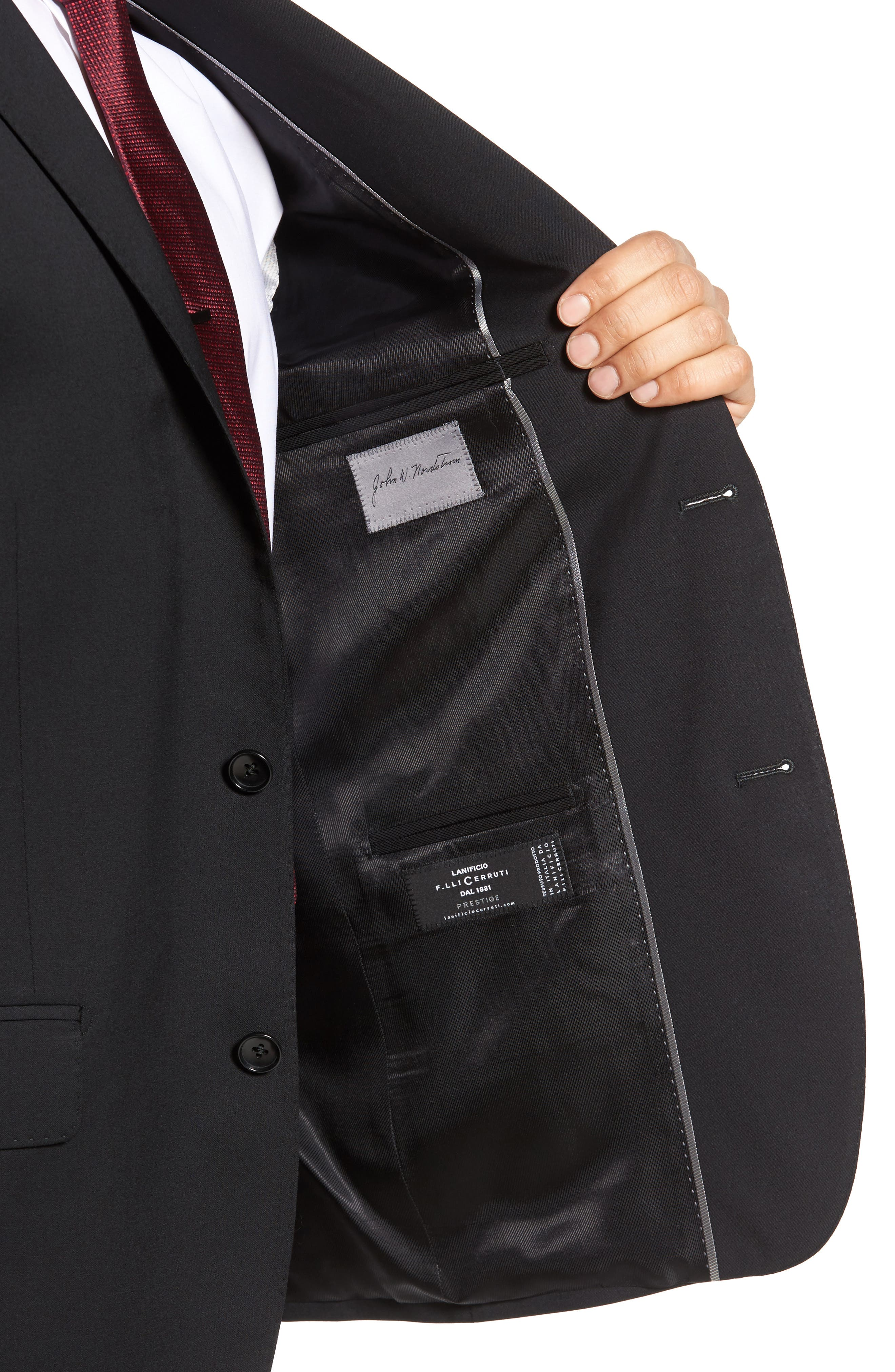 Classic Fit Solid Wool Suit,                             Alternate thumbnail 4, color,                             001