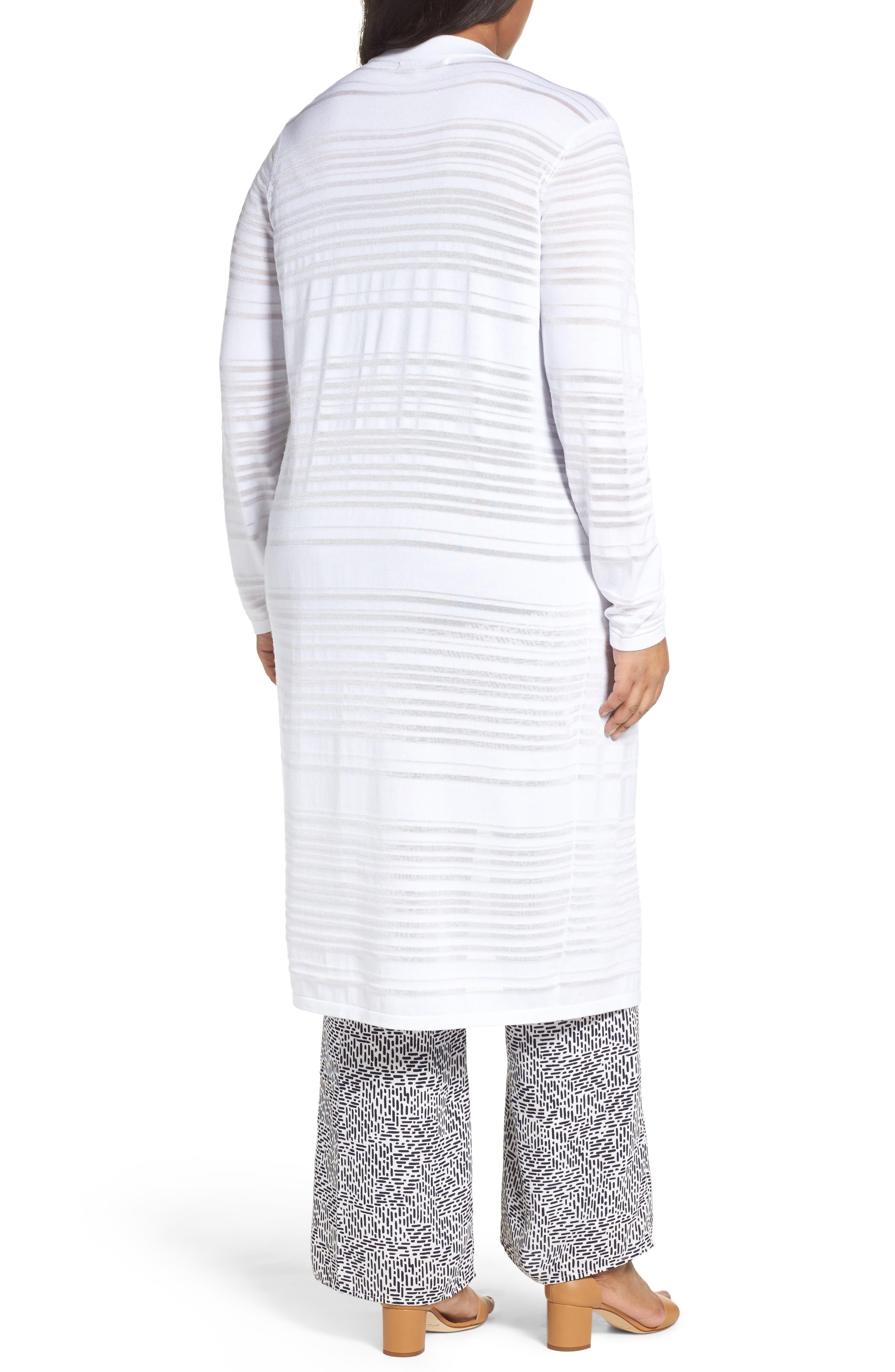 Shadow Stripe Cotton Blend Cardigan,                             Alternate thumbnail 2, color,