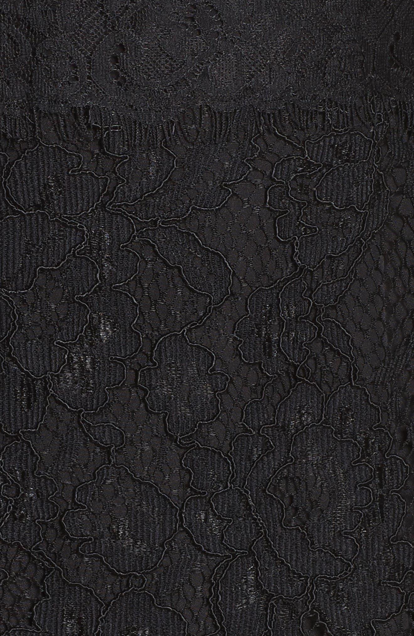 Le Fete Lace Bell Sleeve Dress,                             Alternate thumbnail 5, color,                             001