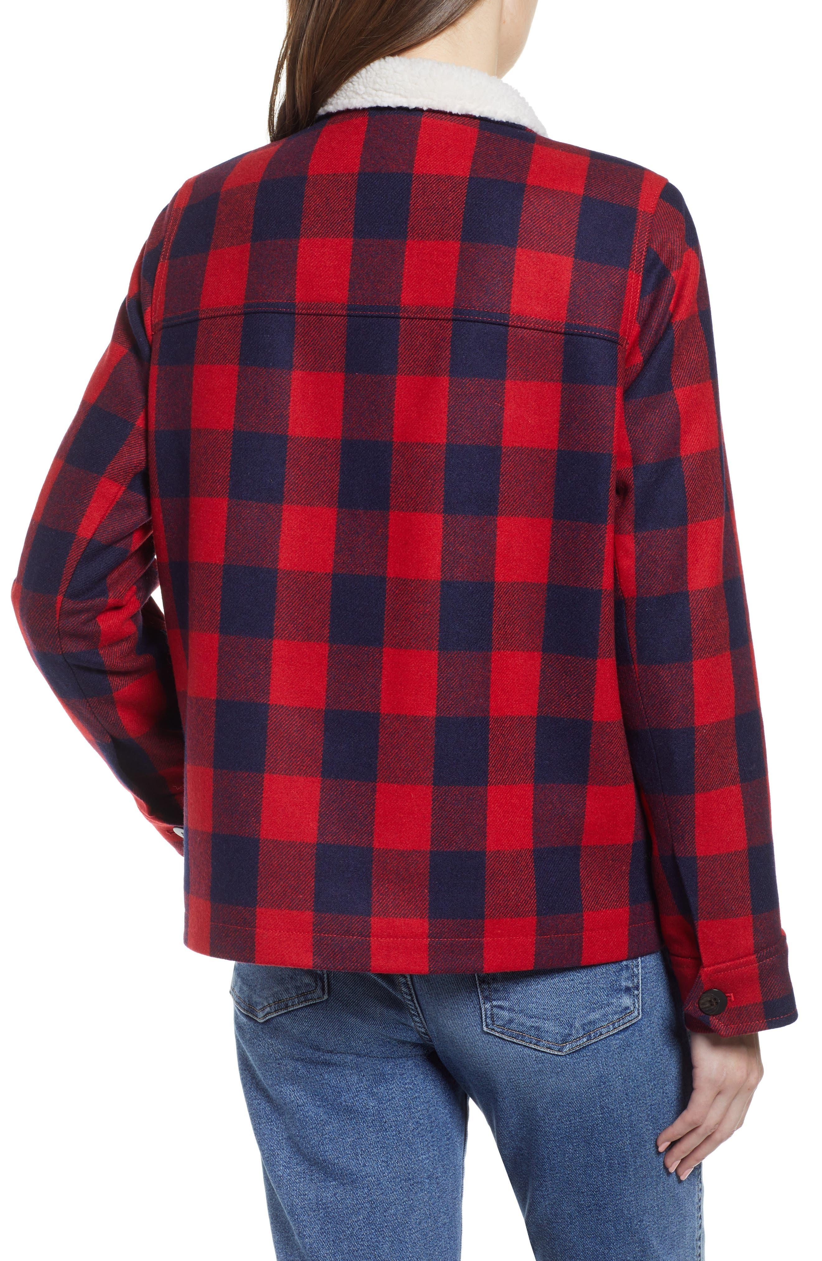 Buffalo Check Workwear Jacket with Faux Shearling Lining,                             Alternate thumbnail 2, color,                             RED NAVY BUFFALO