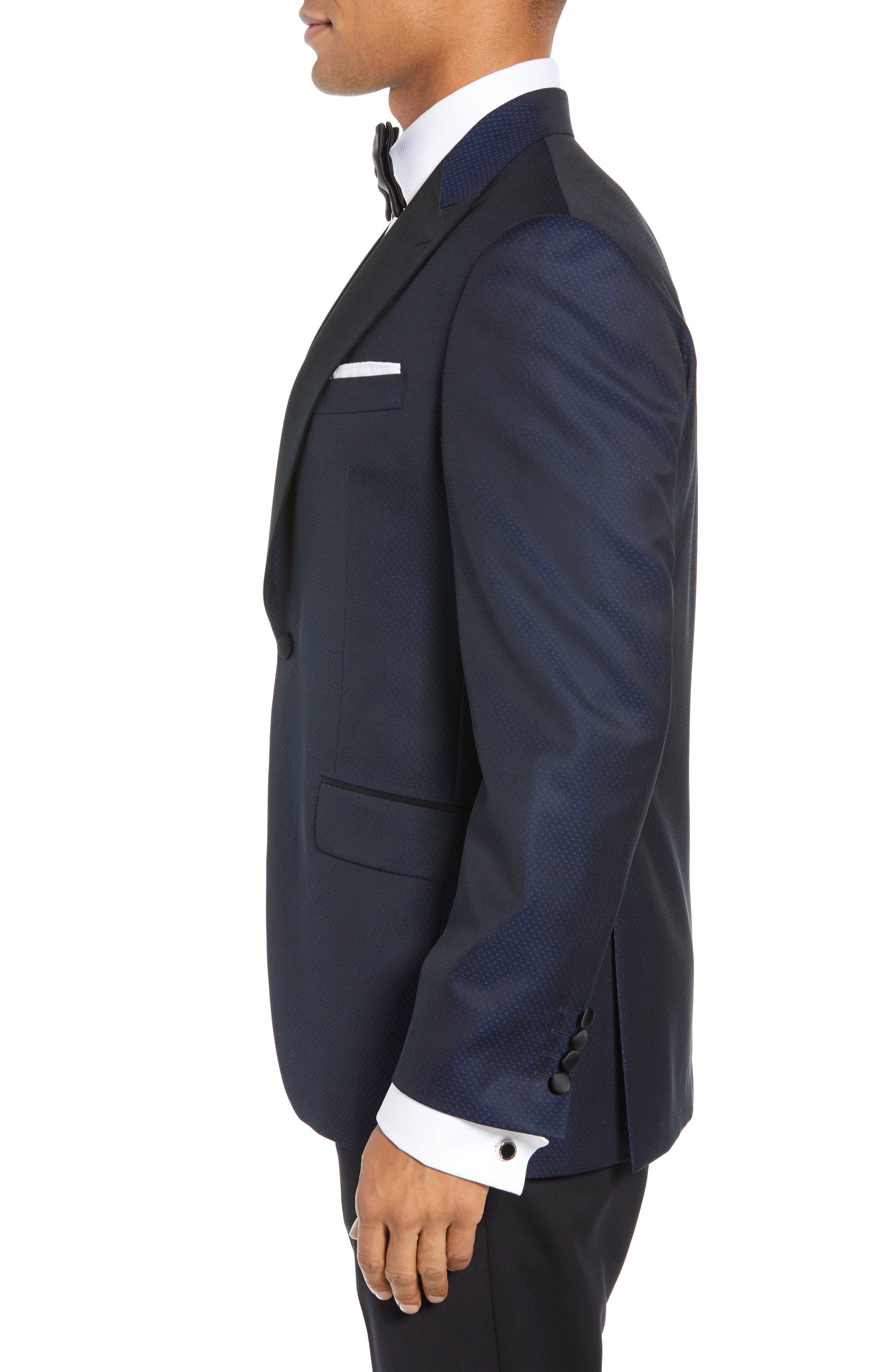 DAVID DONAHUE,                             Russell Classic Fit Wool Dinner Jacket,                             Alternate thumbnail 3, color,                             NAVY