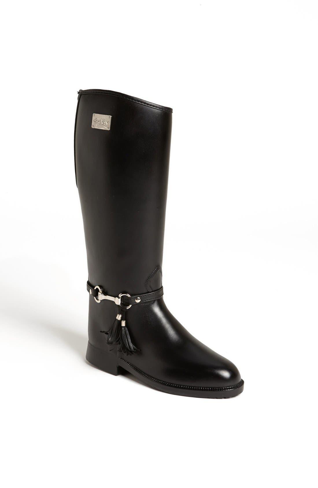 DÄV,                             Equestrian Tassel Waterproof Rain Boot,                             Main thumbnail 1, color,                             001
