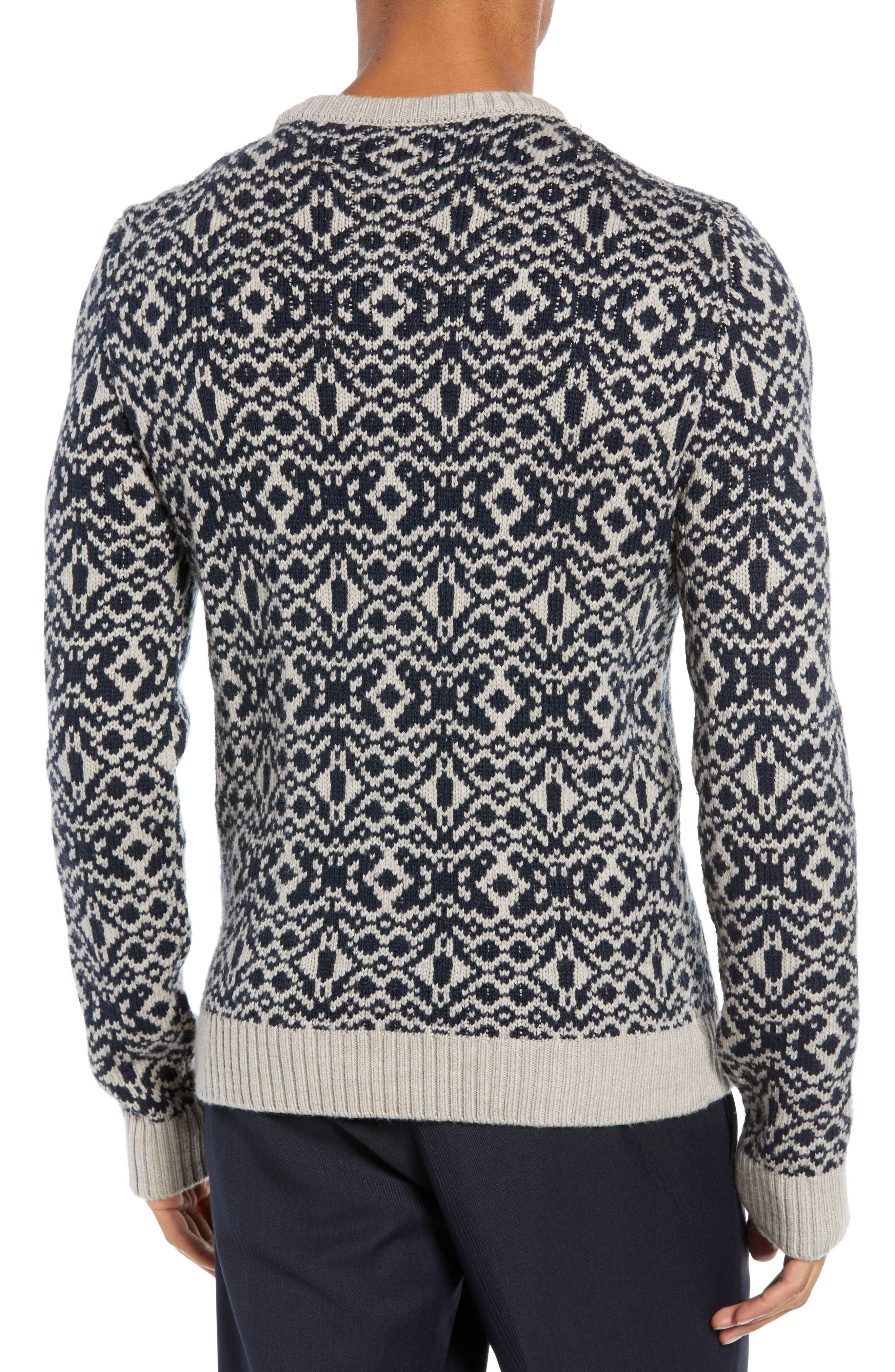 Patterned Wool Crewneck Sweater,                             Alternate thumbnail 2, color,                             STONE
