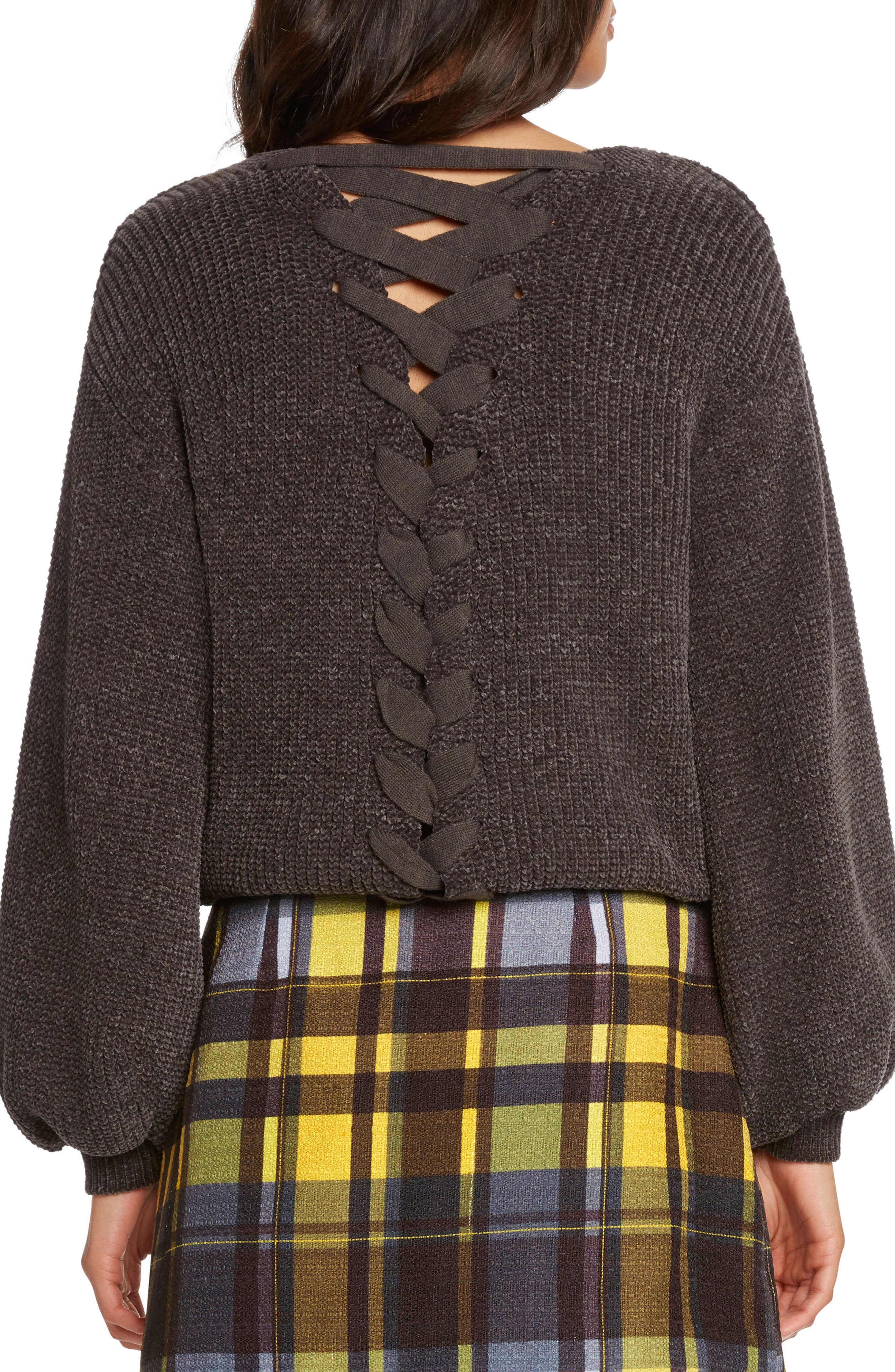 Tie Back Chenille Sweater,                             Alternate thumbnail 2, color,                             CHARCOAL