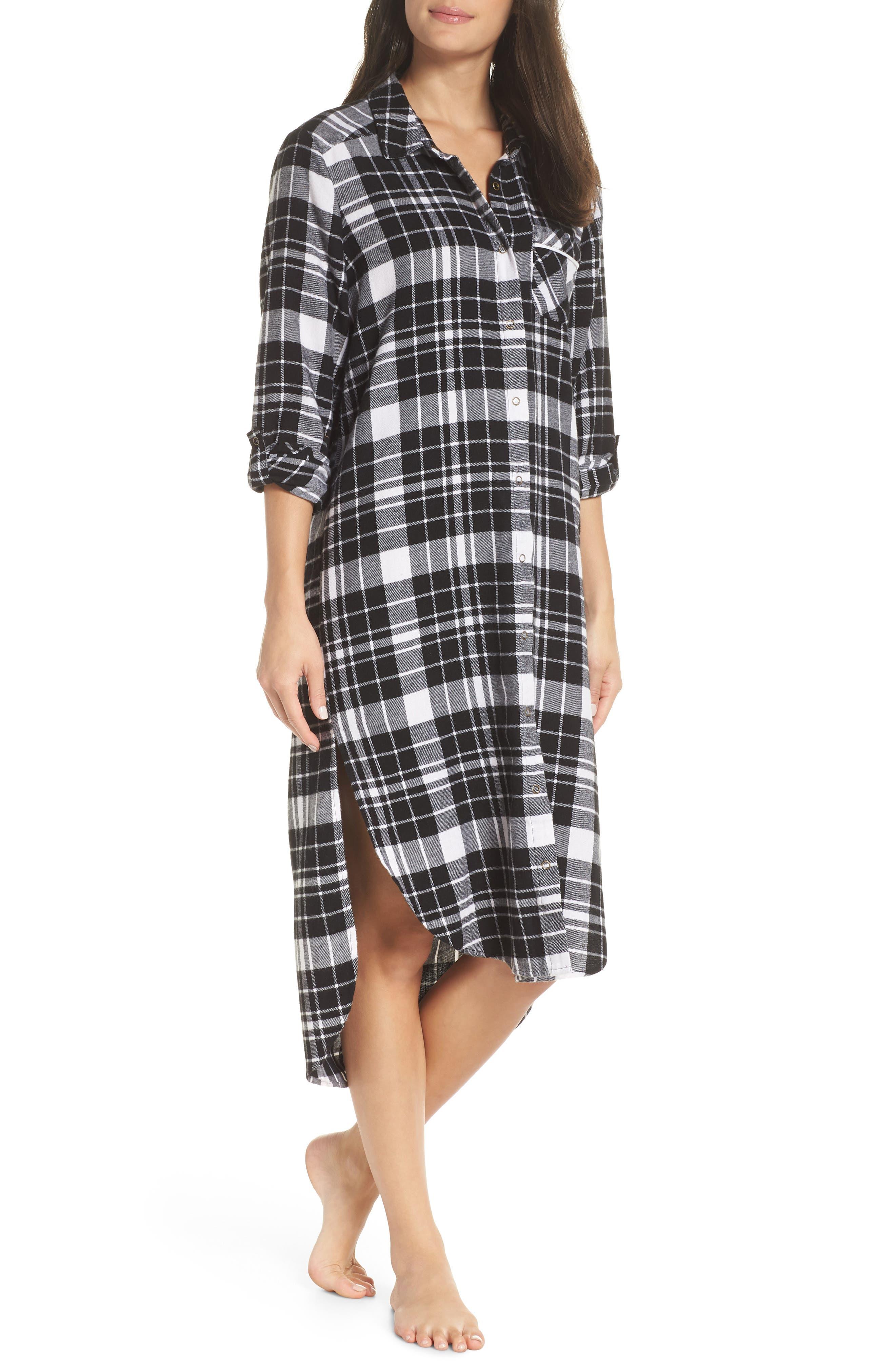 Flannel Midi Sleep Shirt,                         Main,                         color, BLACK FLAT TWILL
