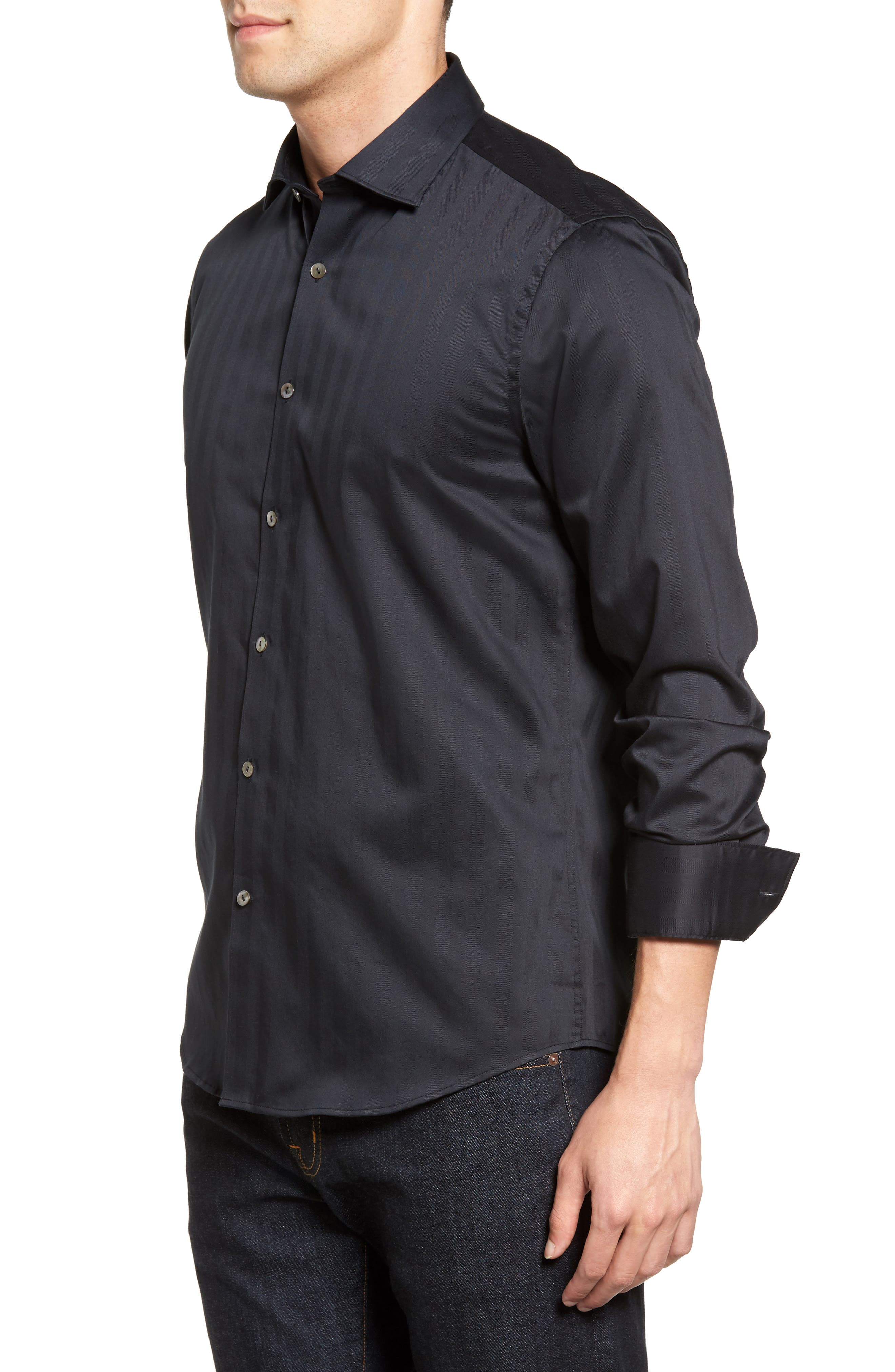 Herringbone Stripe Sport Shirt,                             Alternate thumbnail 3, color,                             BLACK