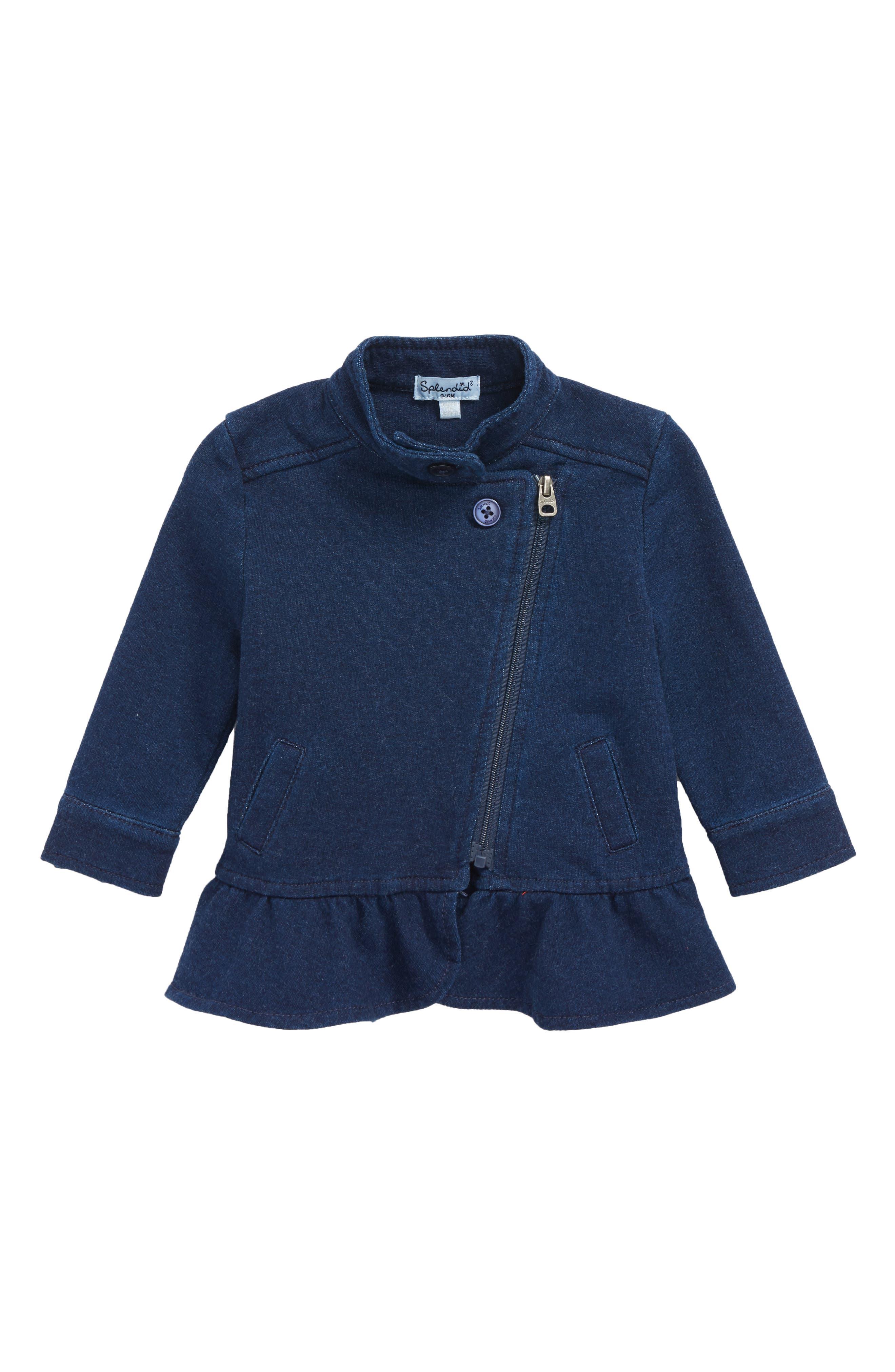 Indigo Moto Jacket,                         Main,                         color, 400
