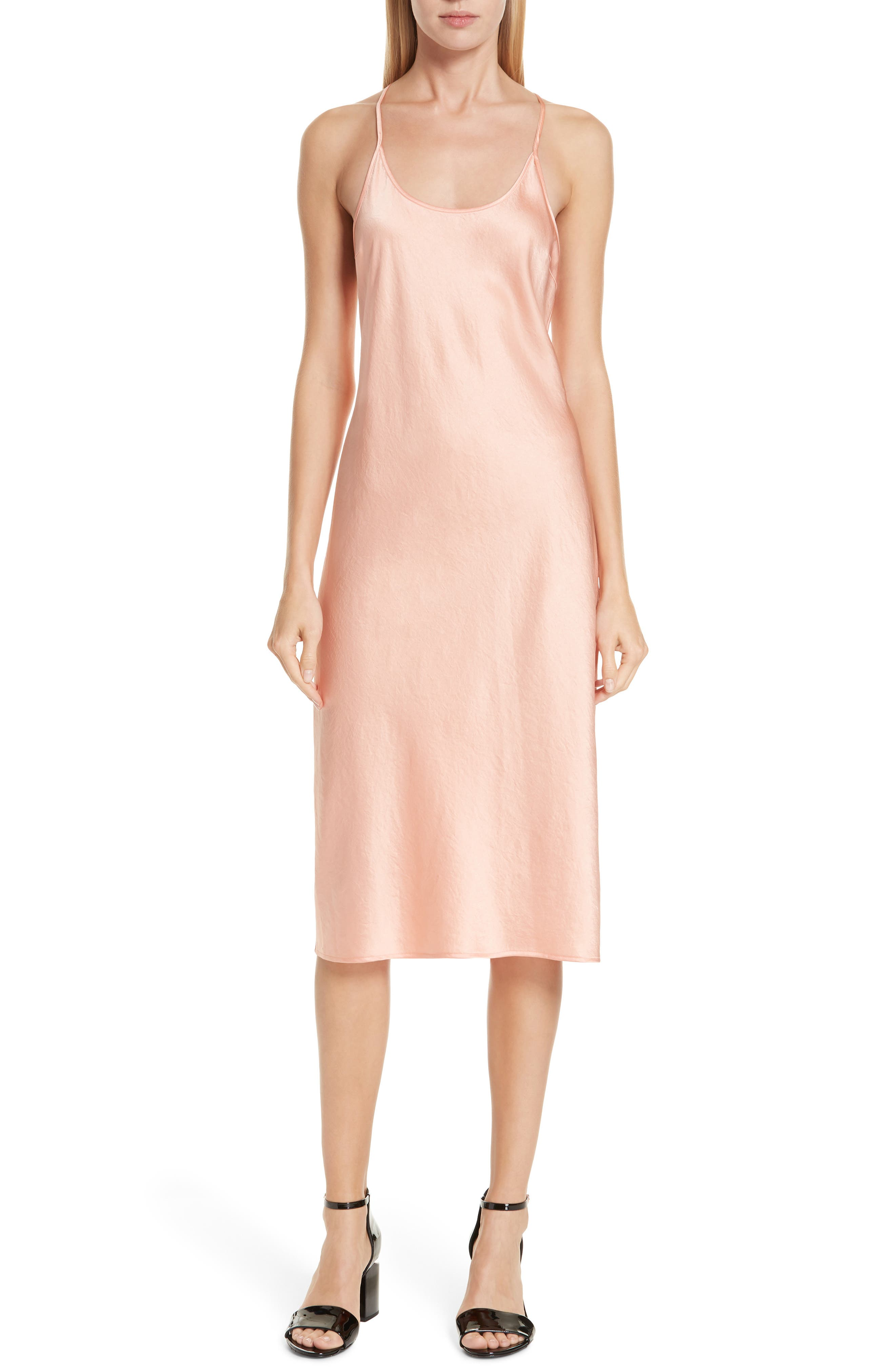 ALEXANDERWANG.T T By Alexander Wang Wash & Go Satin Slipdress in Papaya