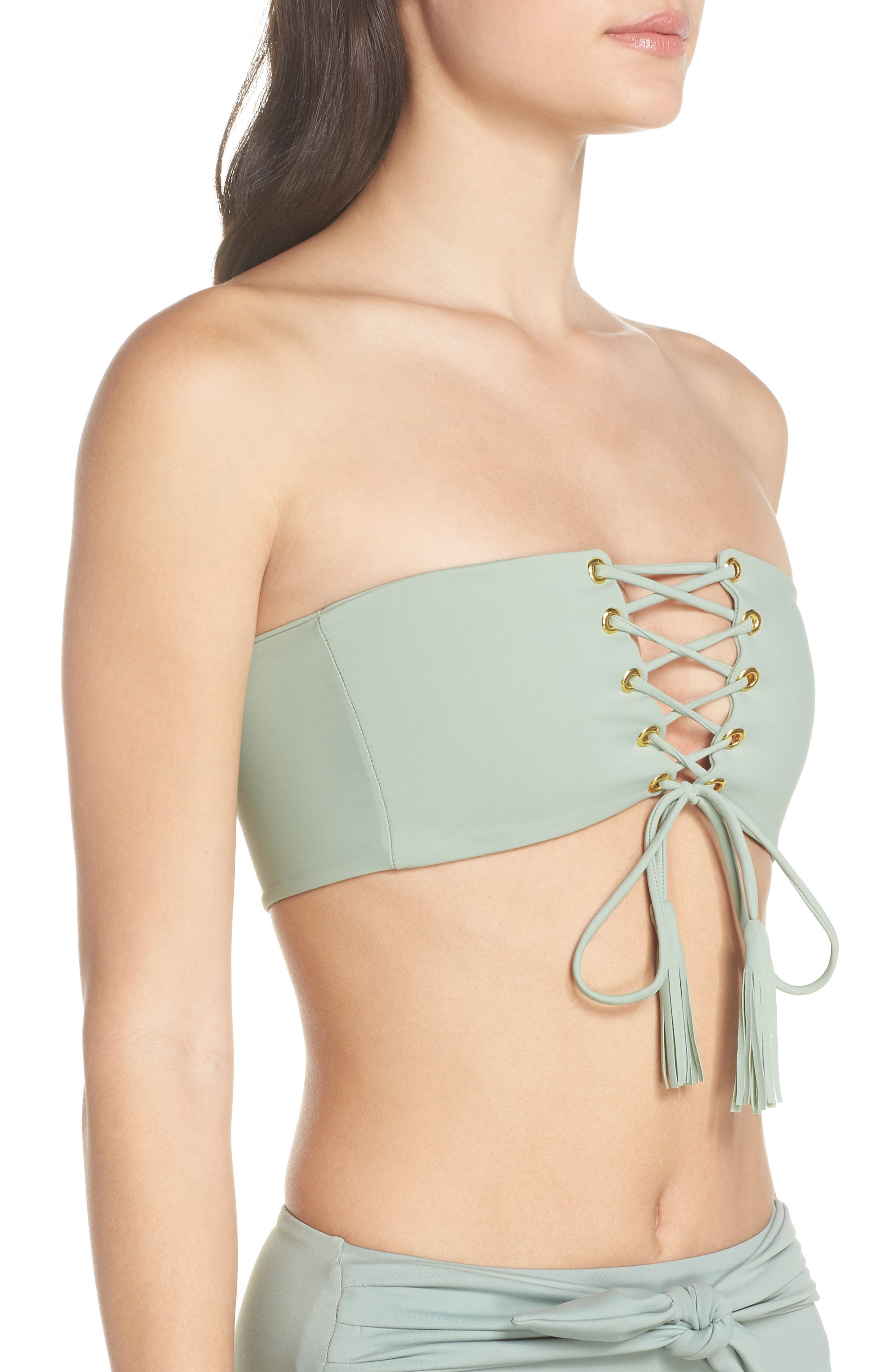 Corset Bikini Top,                             Alternate thumbnail 3, color,                             PISTACHE GREEN