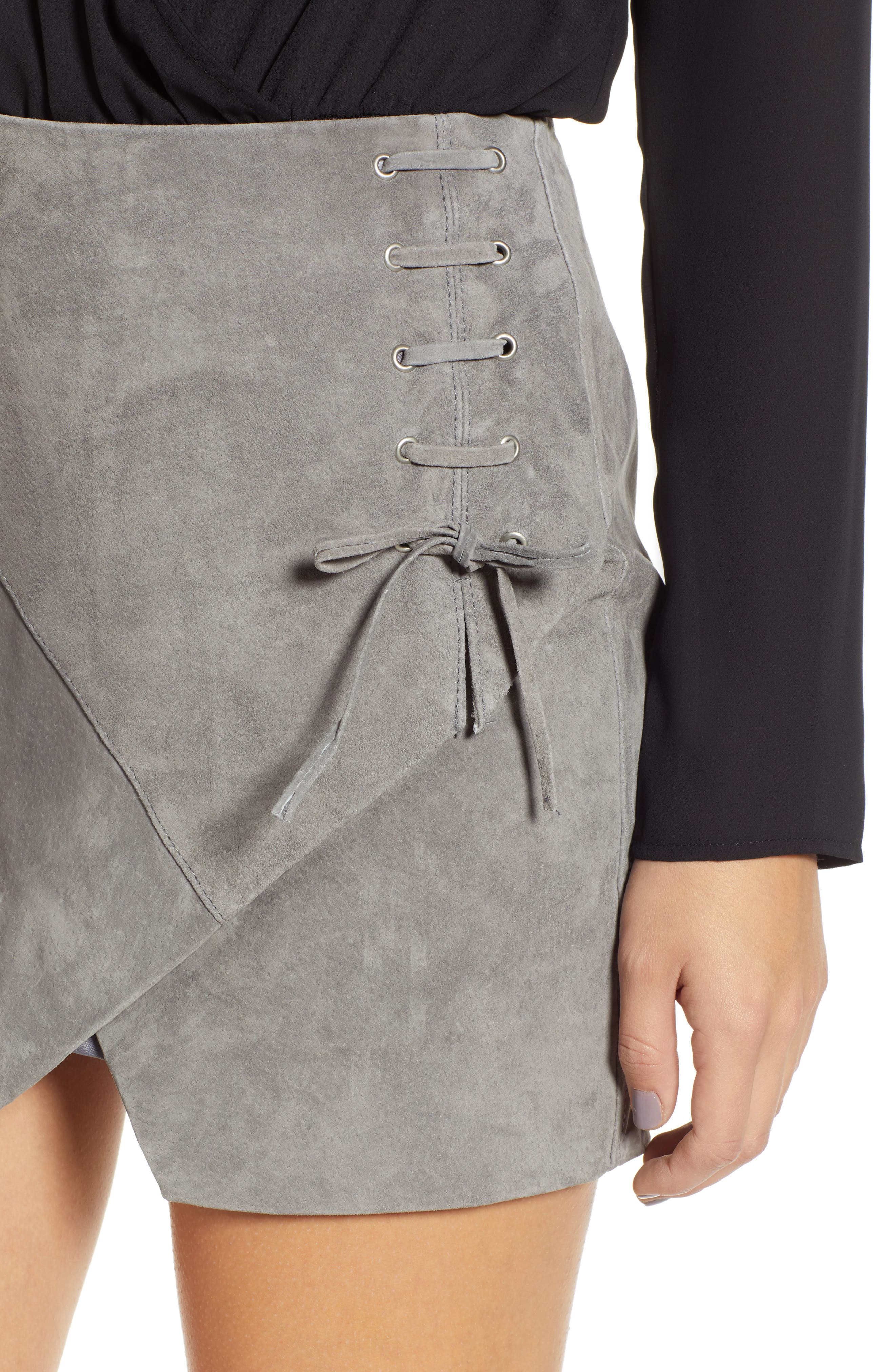 BLANKNYC,                             Lace-Up Suede Miniskirt,                             Alternate thumbnail 4, color,                             SOFT FOG