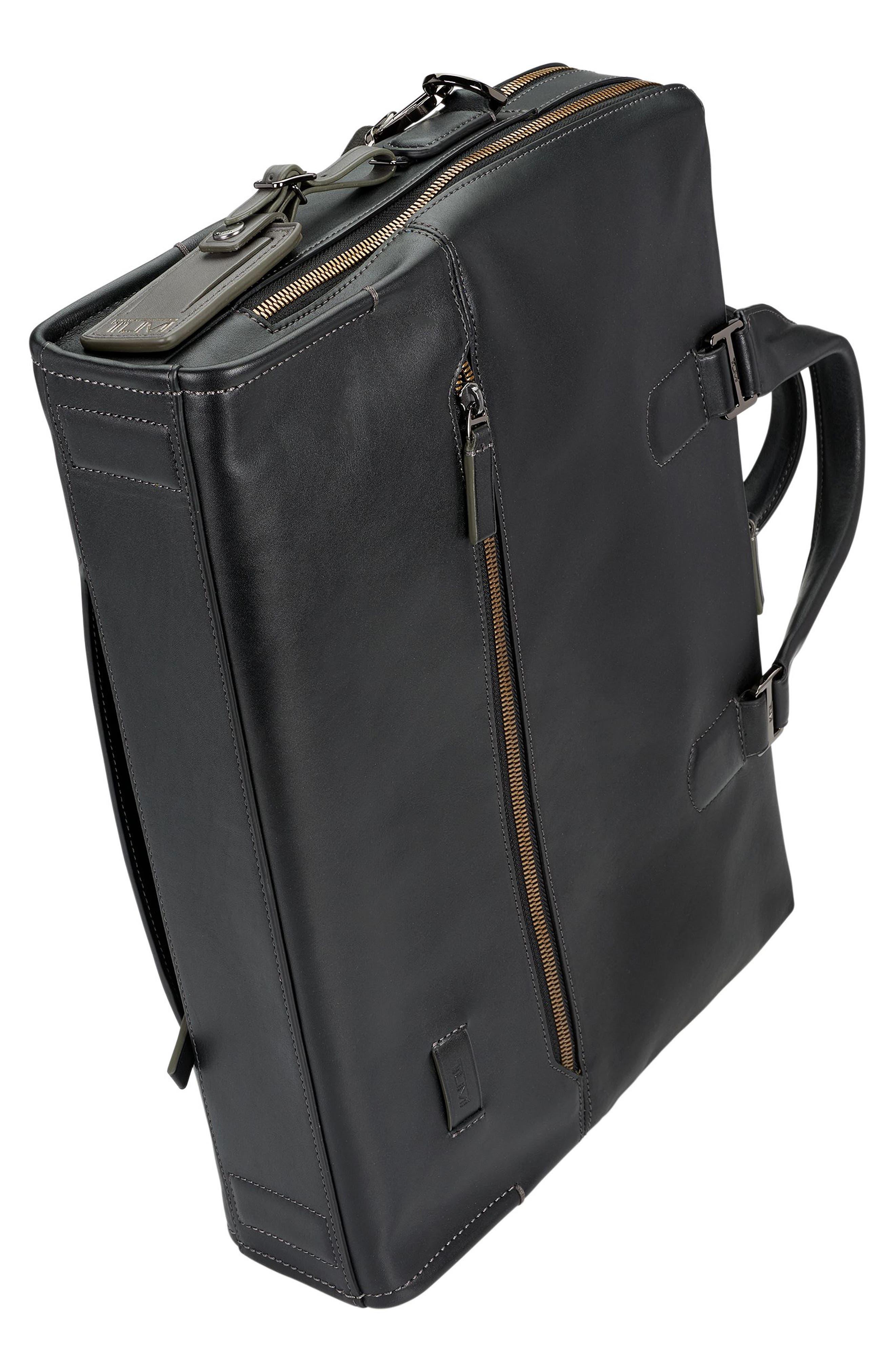 Harrison Horton Double Zip Leather Briefcase,                             Alternate thumbnail 4, color,                             001