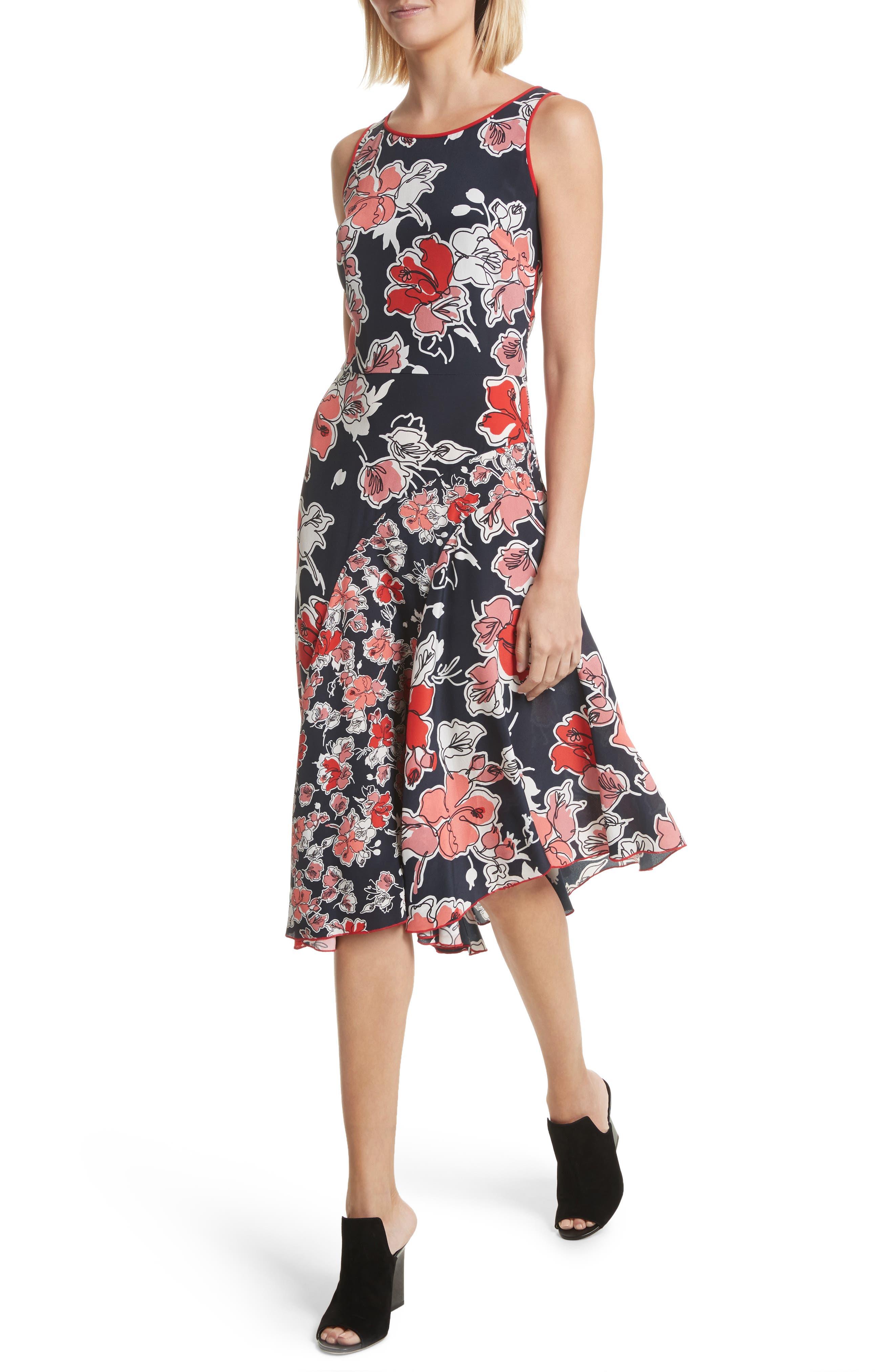 Floral Print Silk Asymmetrical Dress,                             Alternate thumbnail 4, color,                             493