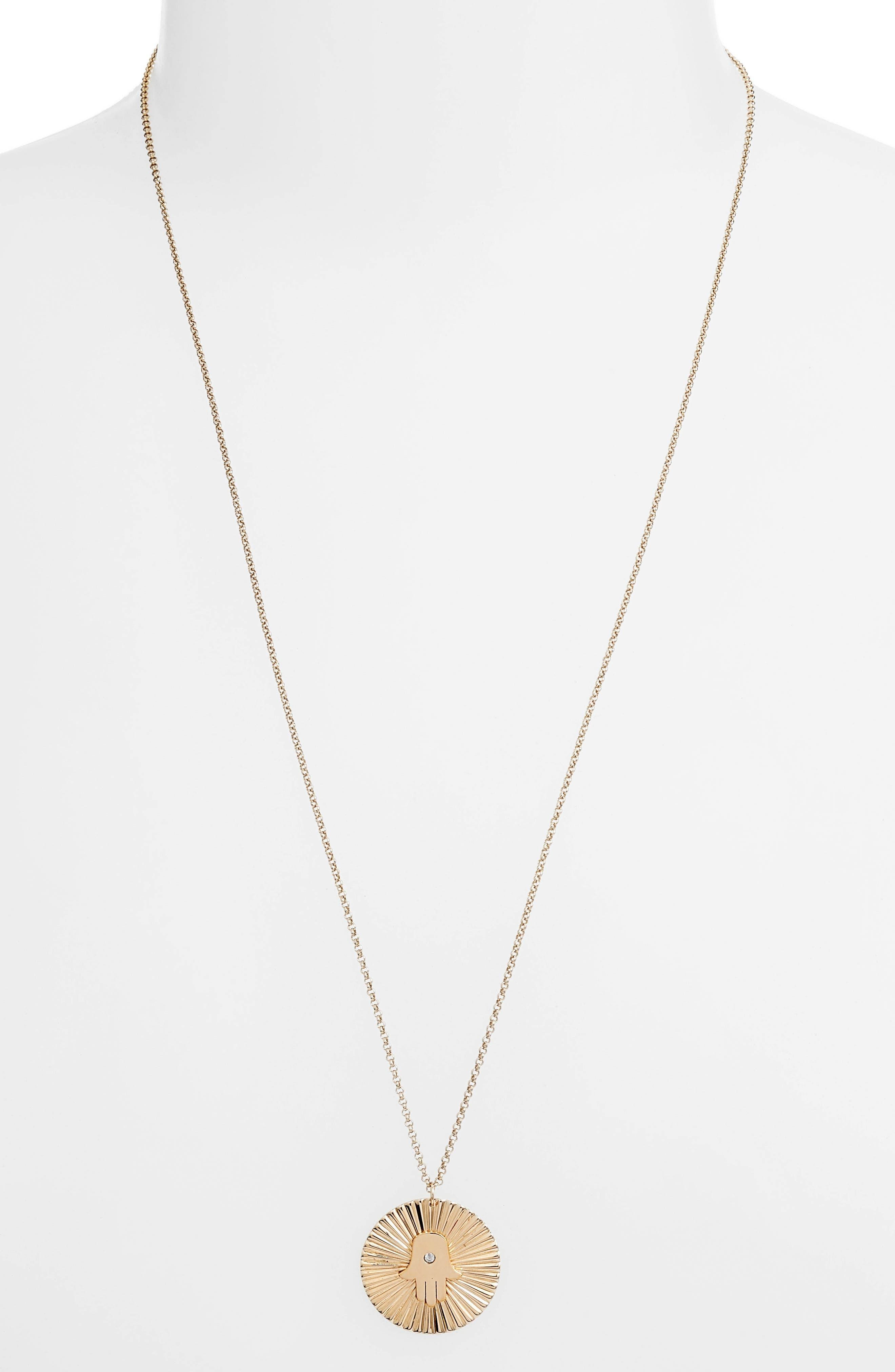 Iris Faith Diamond Pendant Necklace,                             Main thumbnail 1, color,                             YELLOW VERMEIL