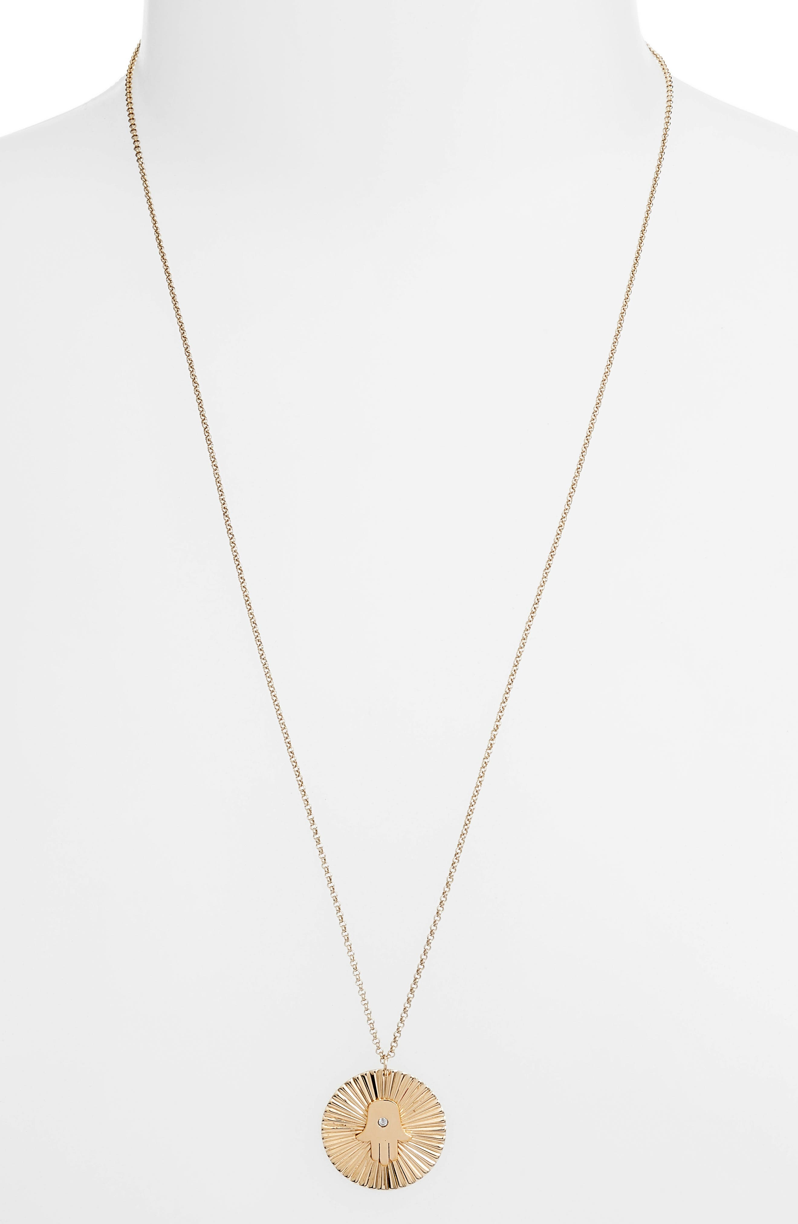 Iris Faith Diamond Pendant Necklace,                         Main,                         color, YELLOW VERMEIL