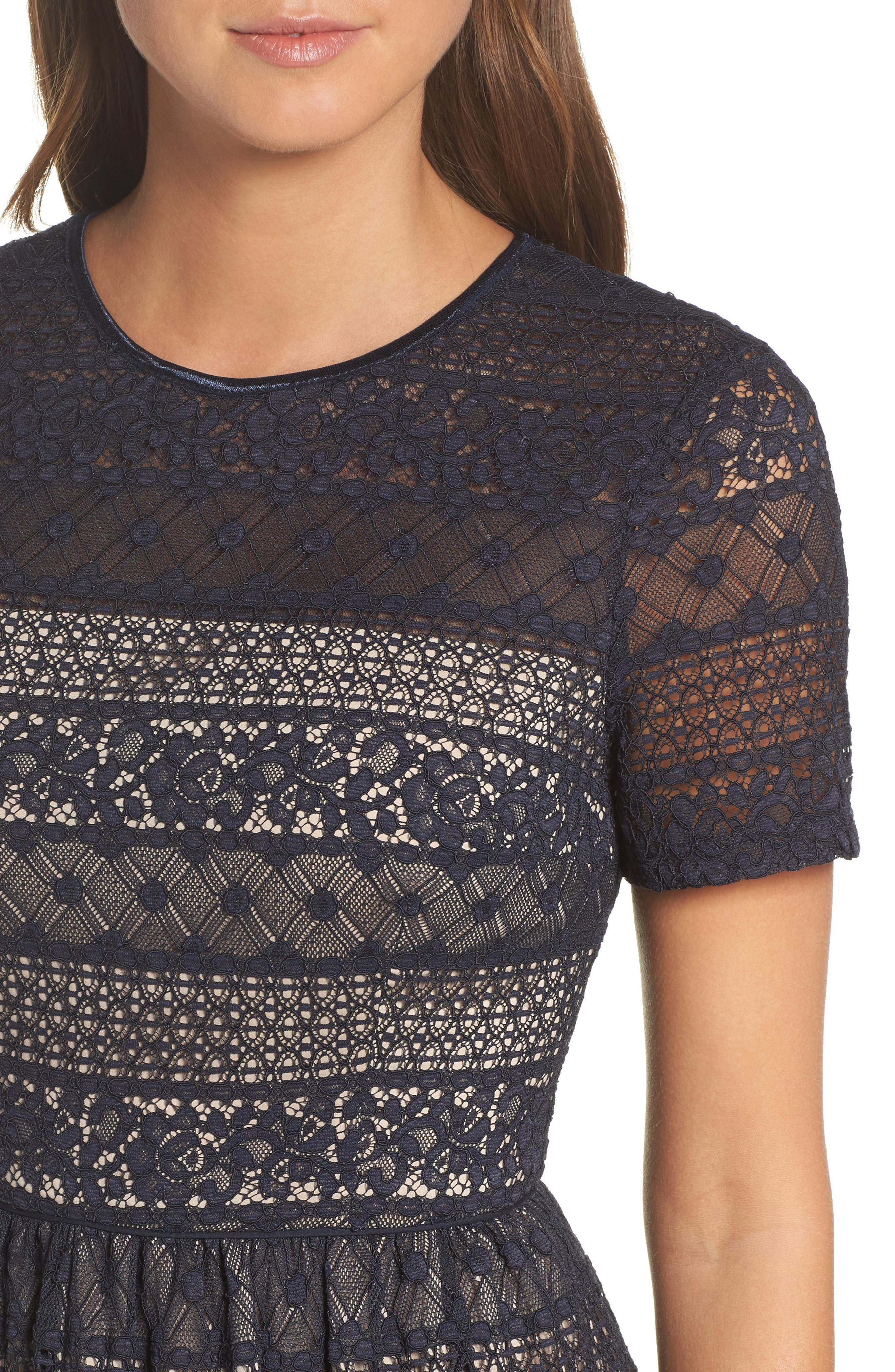 Lace Midi Dress,                             Alternate thumbnail 4, color,                             402