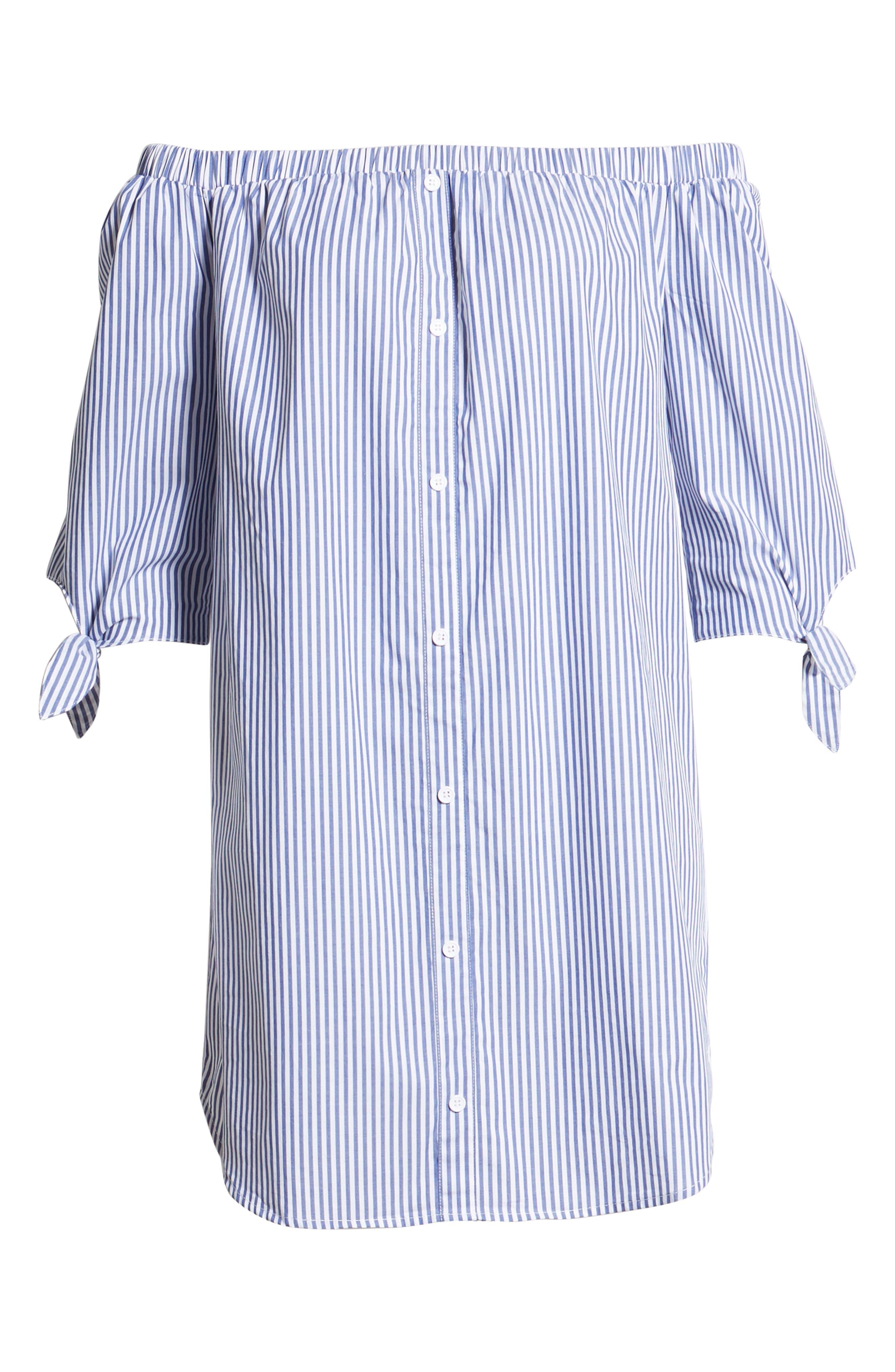 Stripe Off-the-shoulder Poplin Shirtdress,                             Alternate thumbnail 7, color,                             400