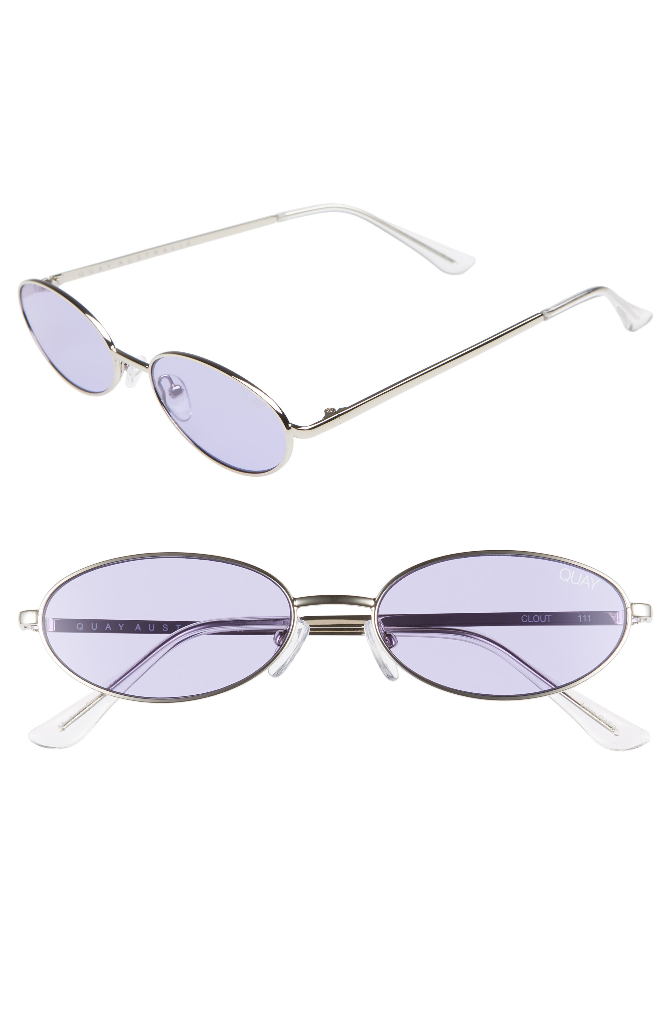QUAY Clout 54Mm Round Sunglasses - Silver/ Violet