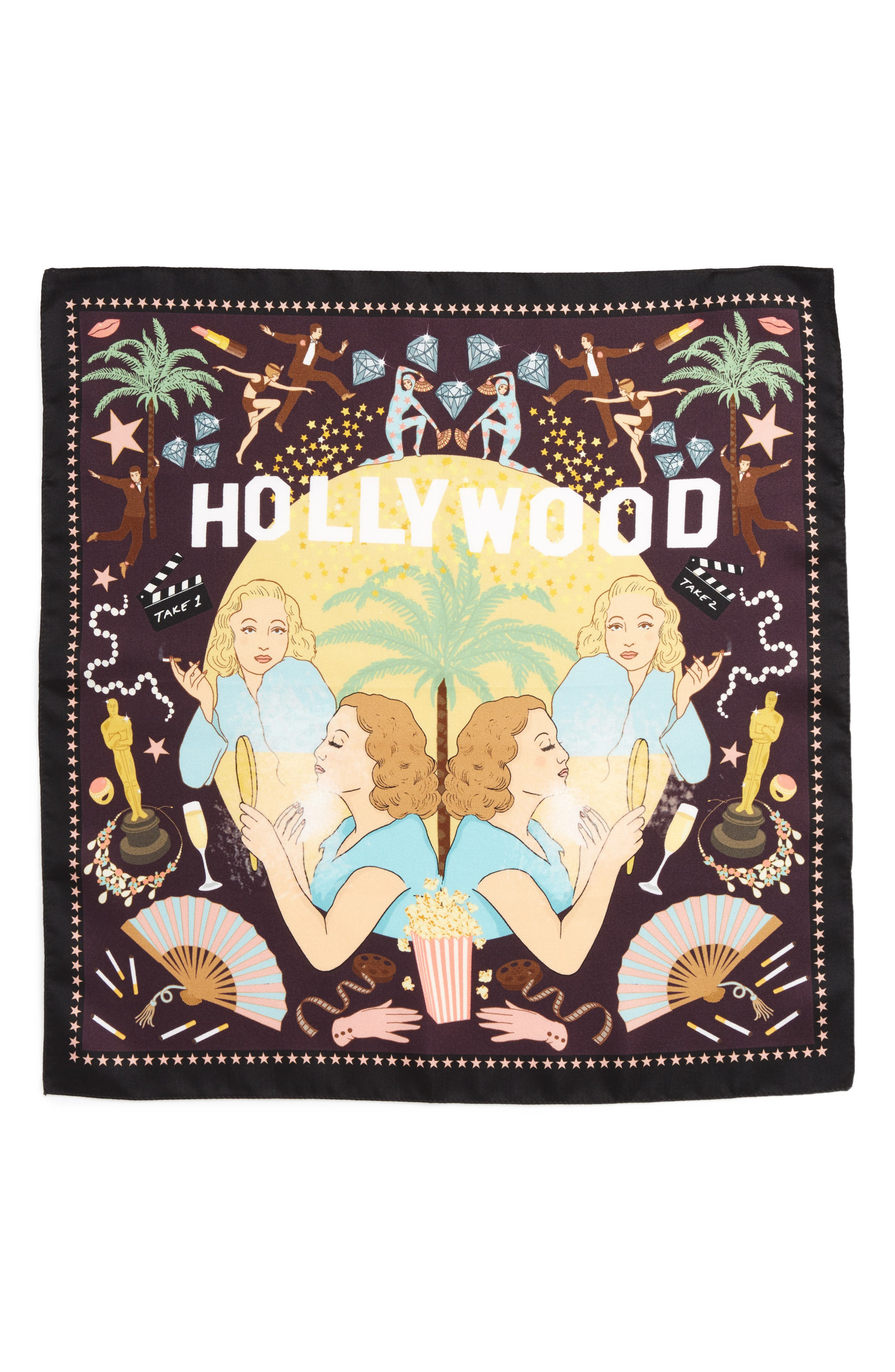 Hollywood Silk Square Scarf,                             Alternate thumbnail 2, color,                             001