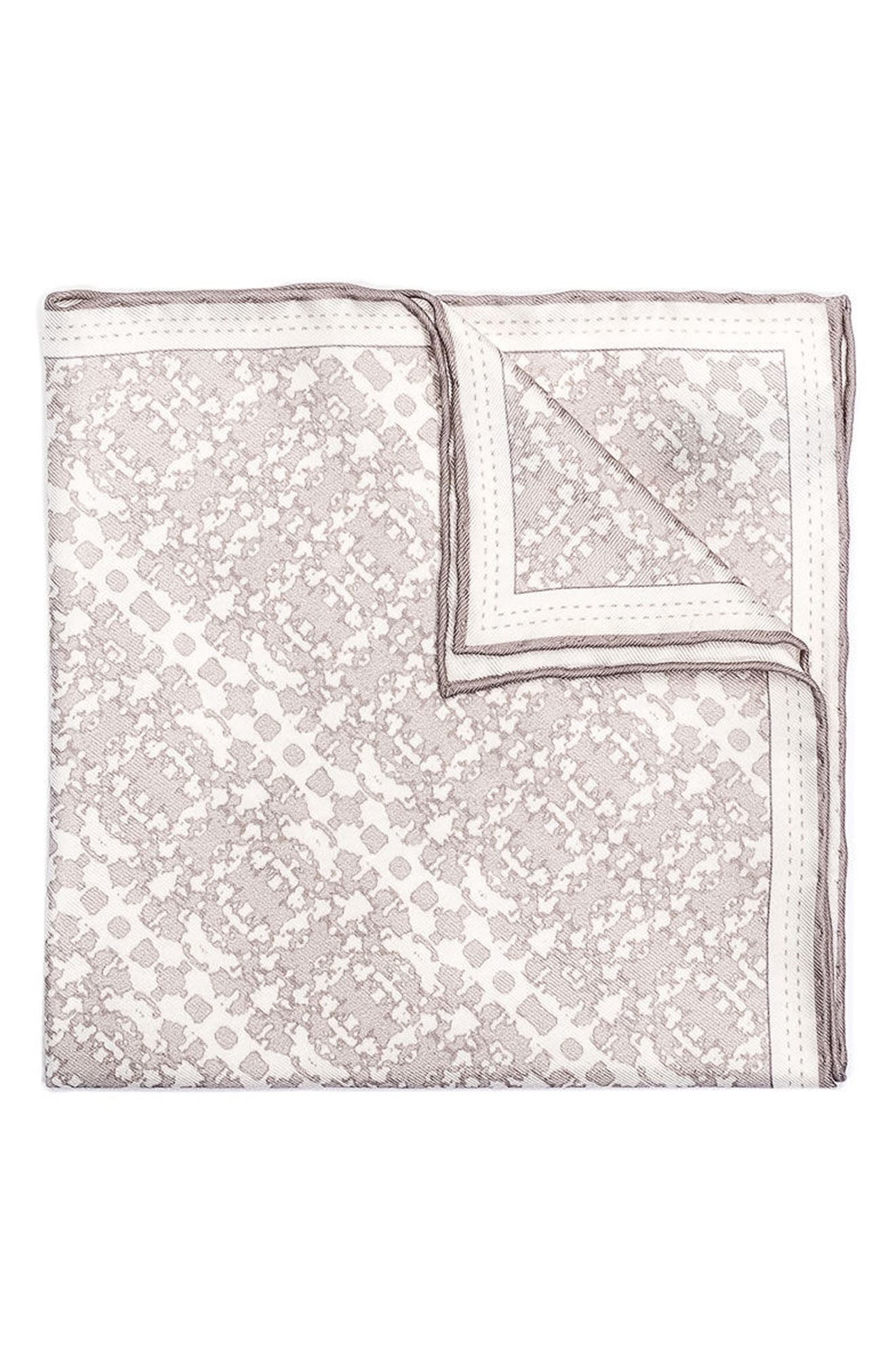 Batik Patterned Silk Pocket Square,                         Main,                         color,