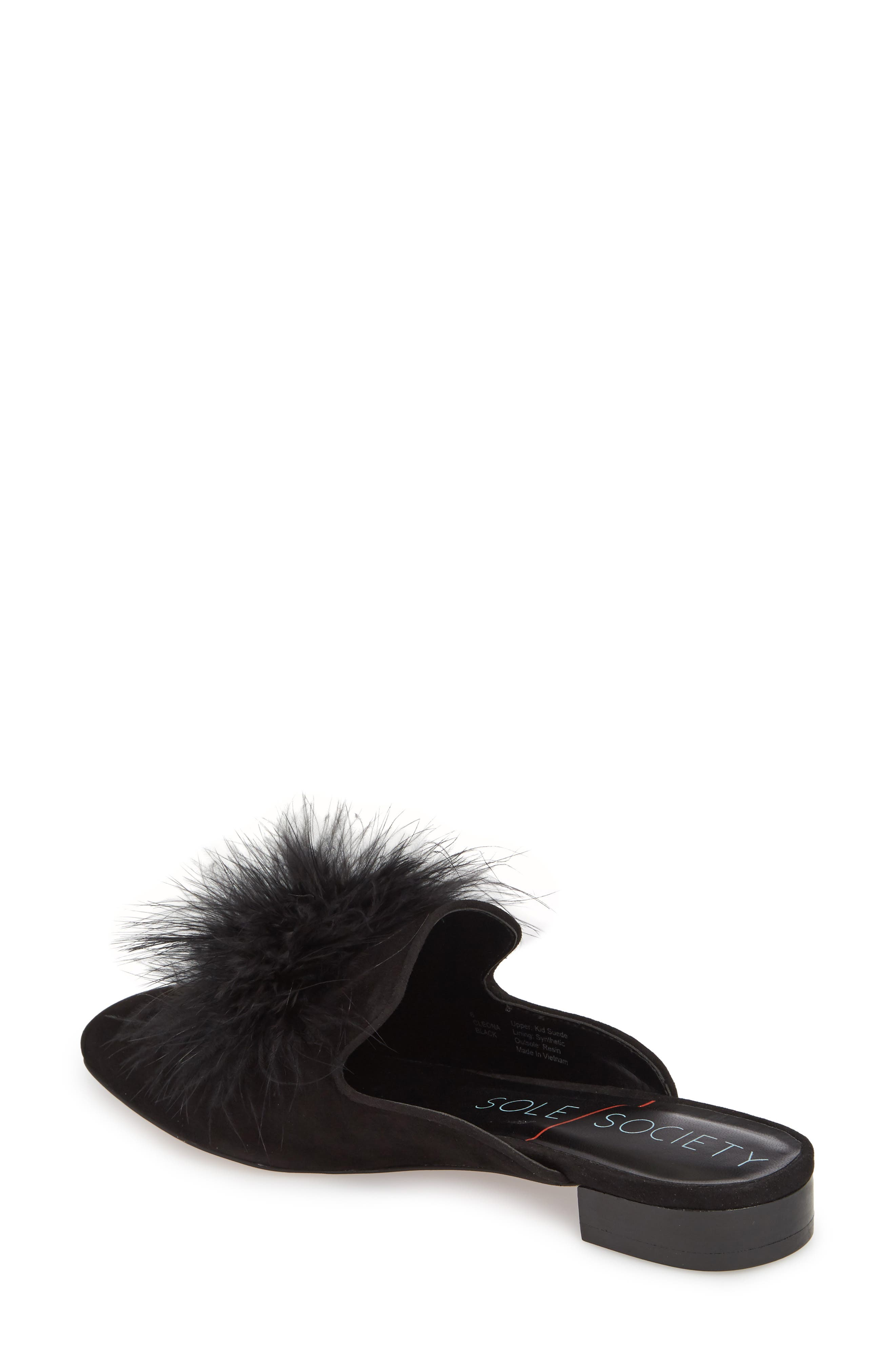 Cleona Feather Pompom Mule,                             Alternate thumbnail 2, color,                             001