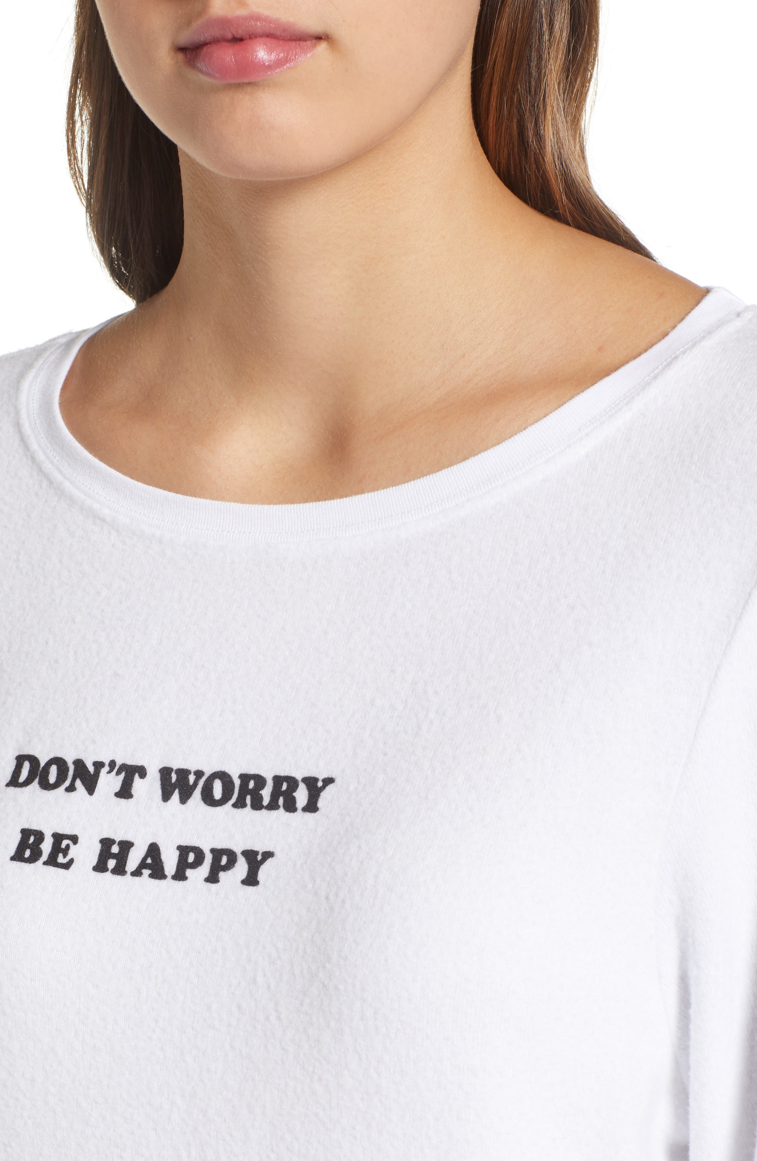 Be Happy Sweatshirt,                             Alternate thumbnail 4, color,                             CLEAN WHITE