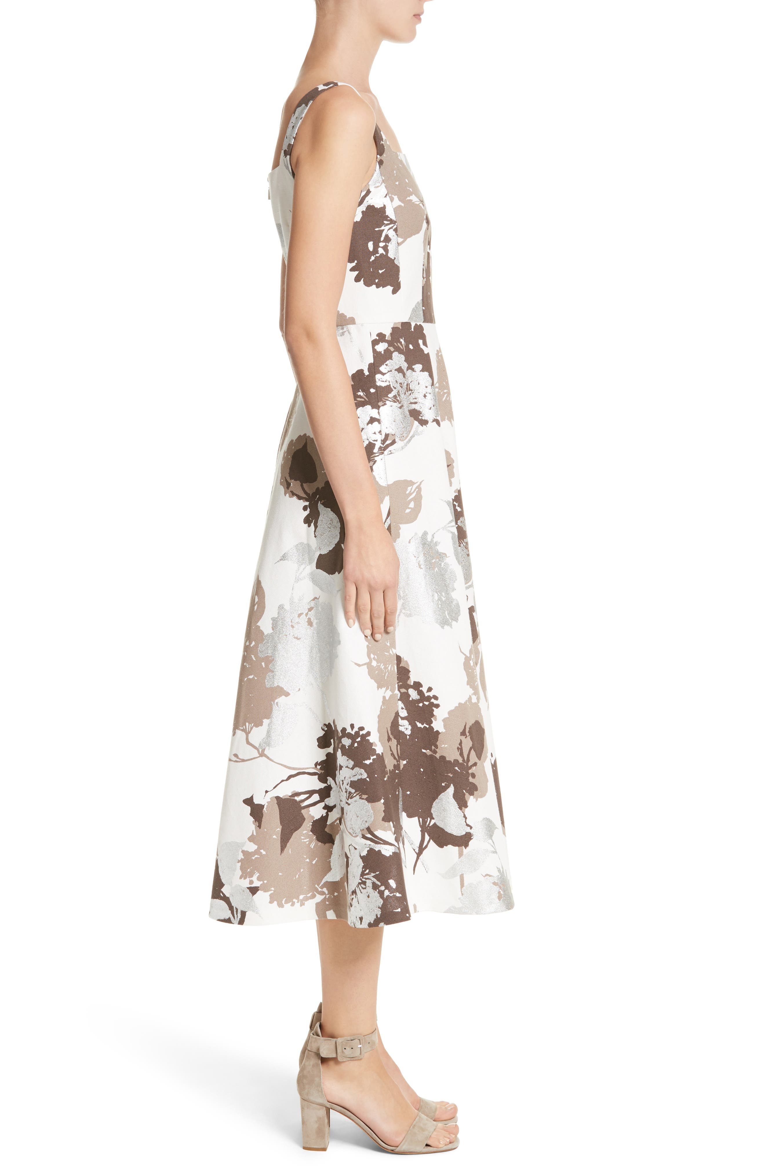 Arlene Print Midi Dress,                             Alternate thumbnail 3, color,                             125