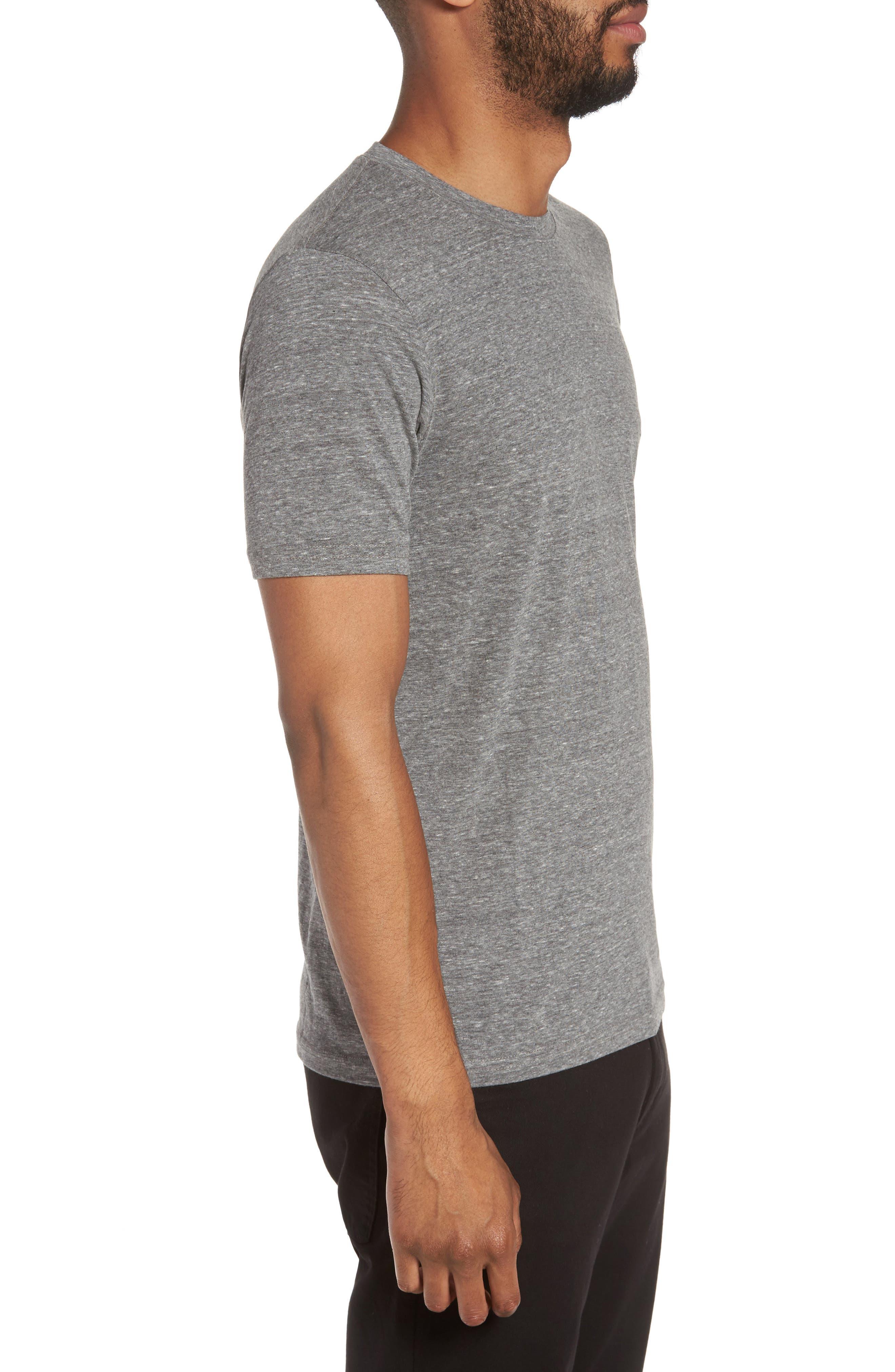Supima Cotton Blend Crewneck T-Shirt,                             Alternate thumbnail 3, color,                             HEATHER GREY