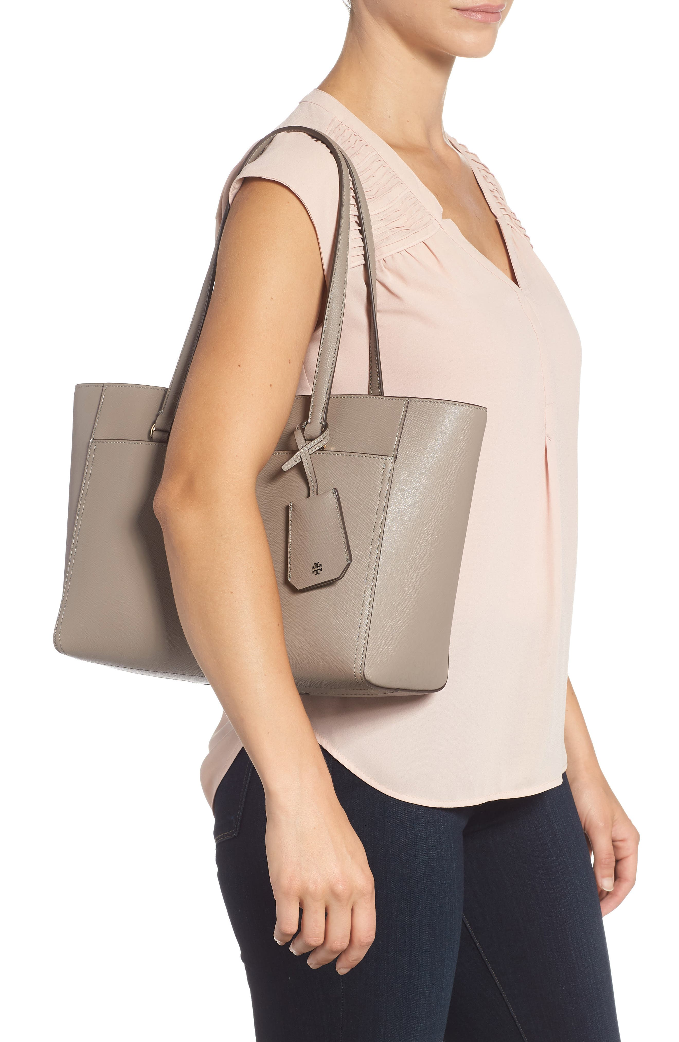 Small Robinson Leather Tote,                             Alternate thumbnail 2, color,                             GRAY HERON