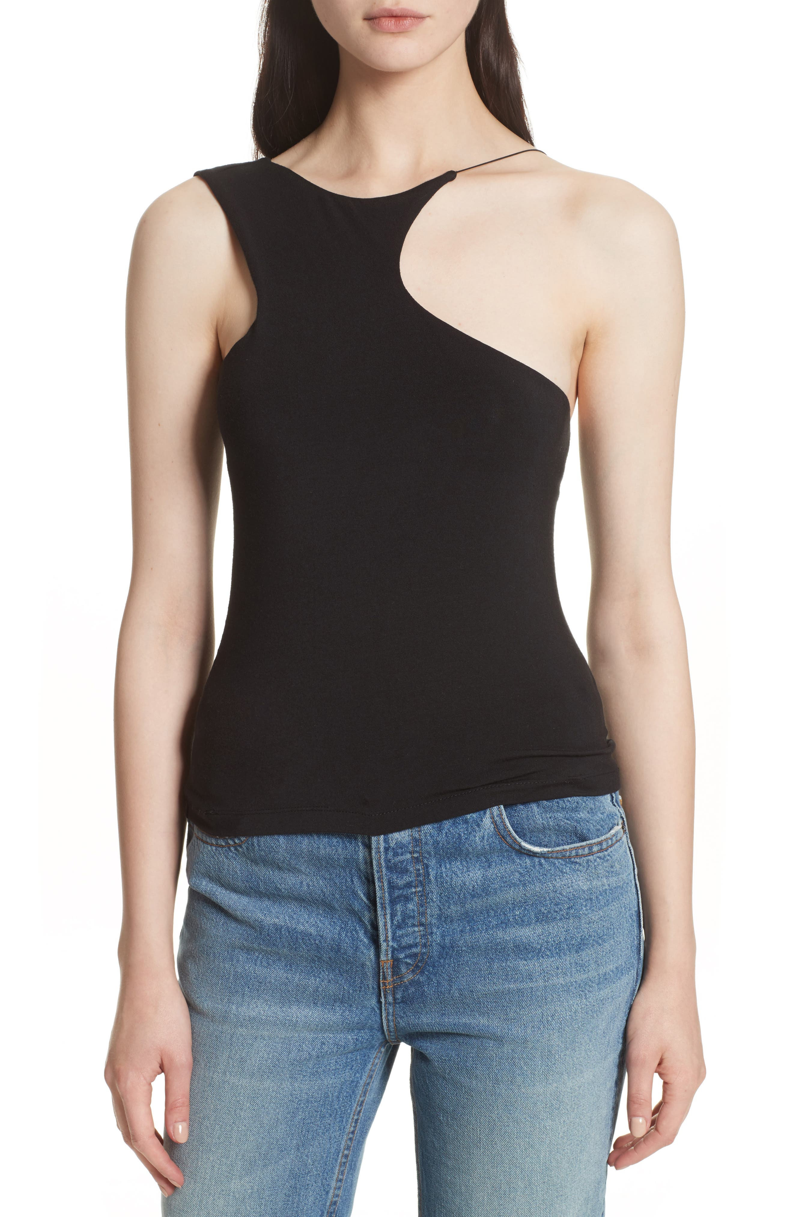 Asymmetrical Cutout Stretch Jersey Top,                             Main thumbnail 1, color,                             001