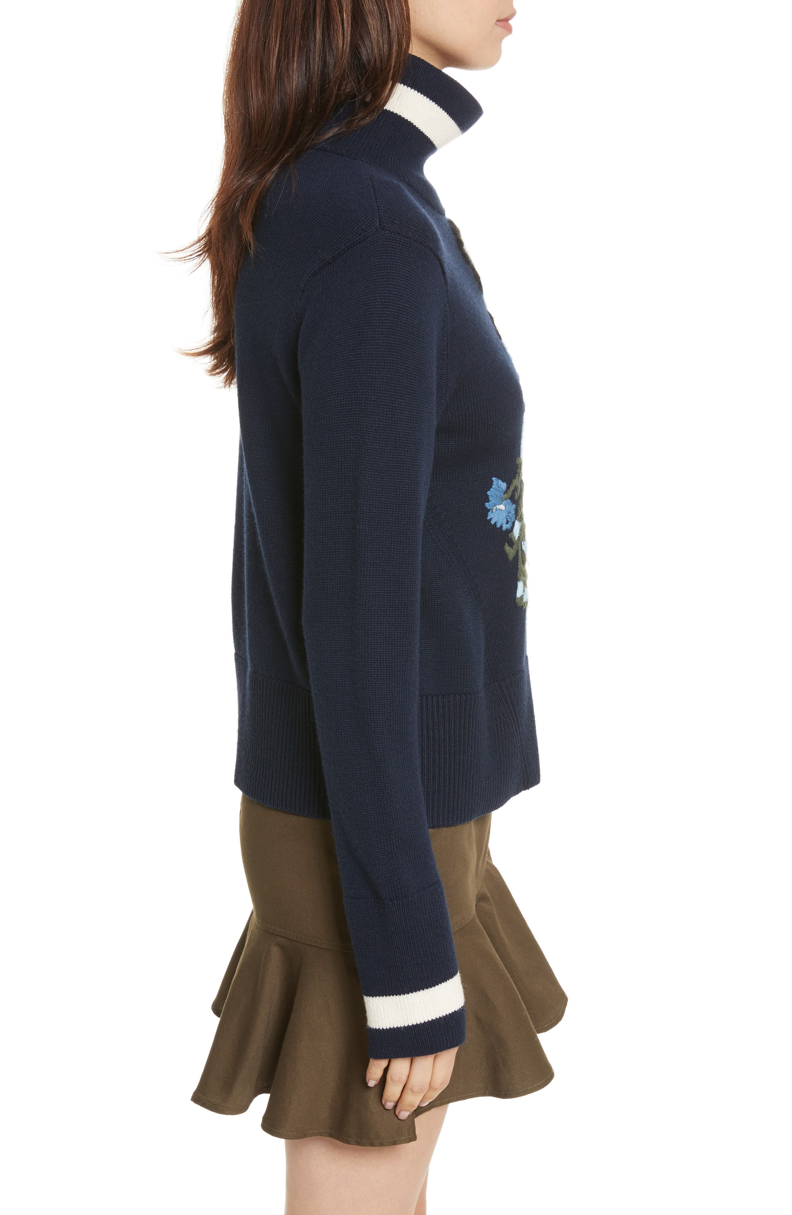 Pia Floral Turtleneck Sweater,                             Alternate thumbnail 3, color,                             410