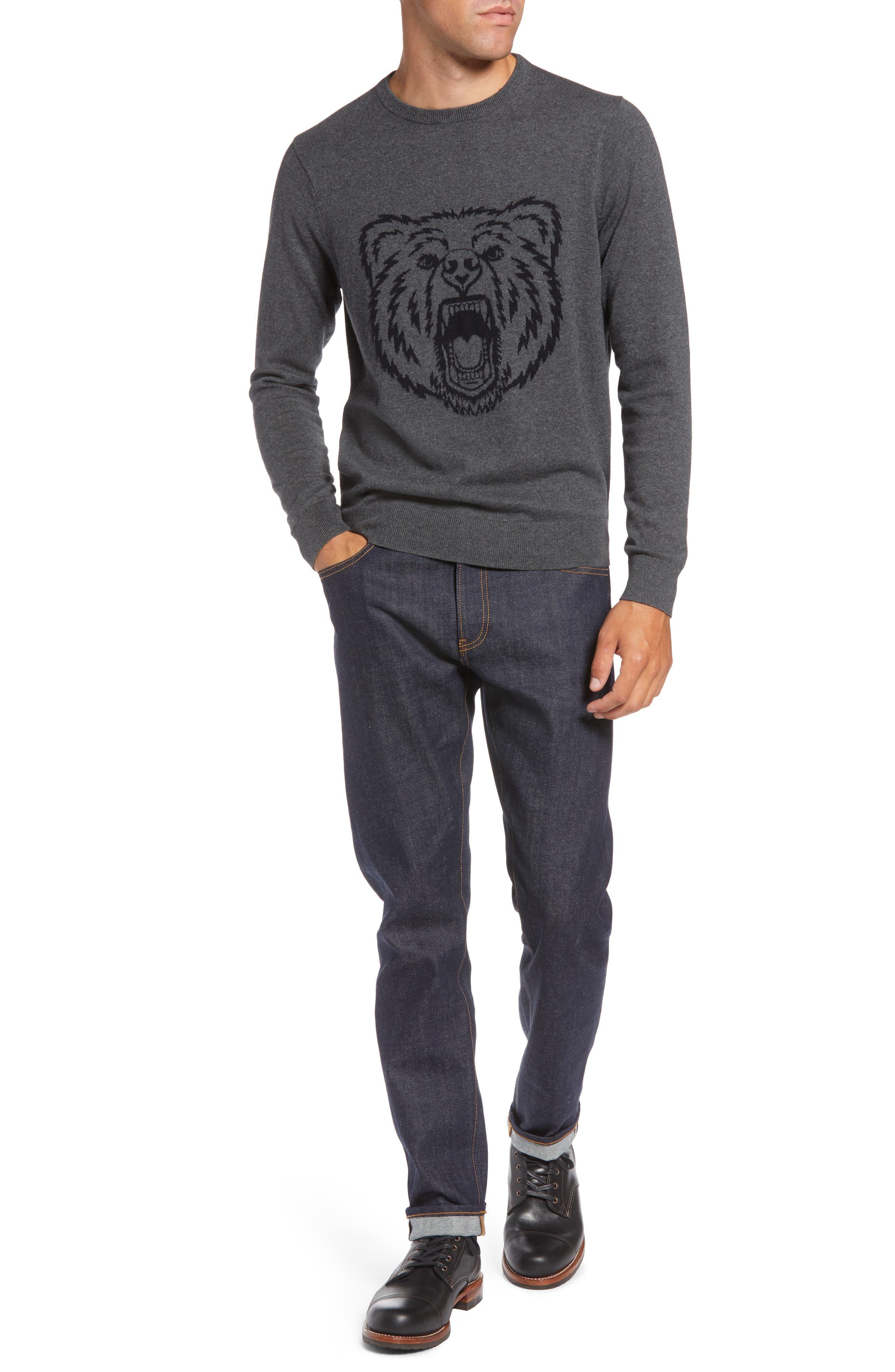 Bear Crewneck Sweater,                             Alternate thumbnail 4, color,                             GREY CASTLEROCK MARL BEAR