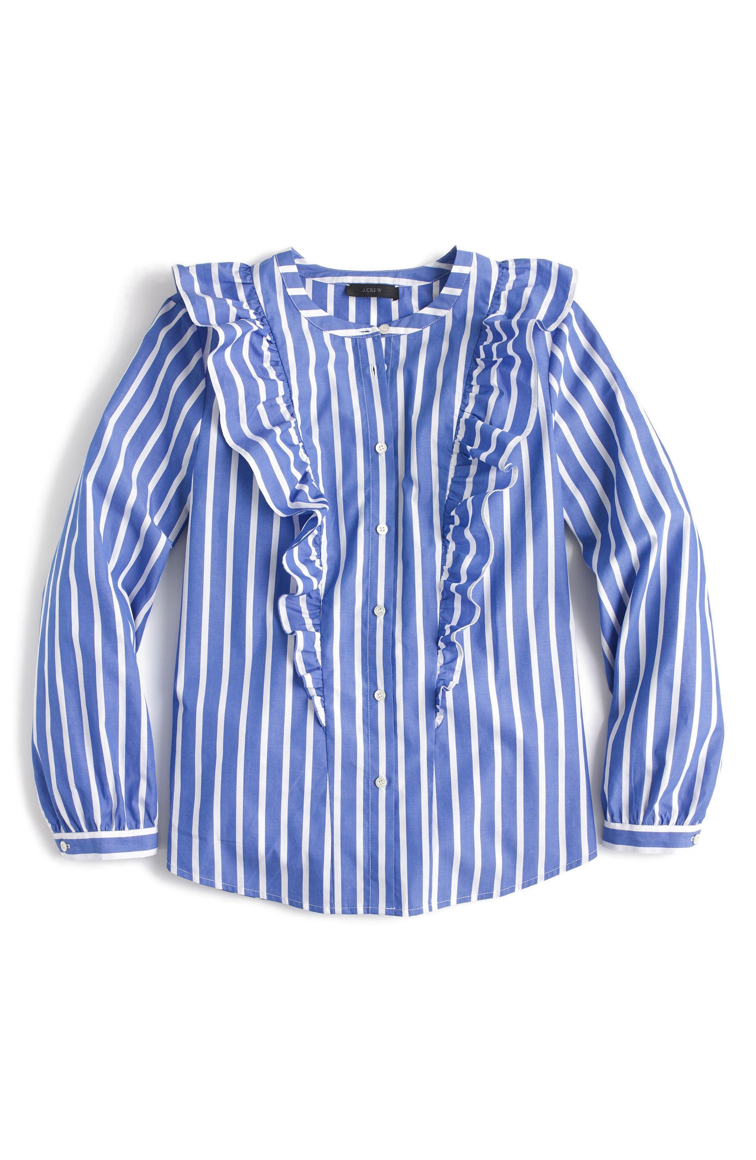 Ruffle Stripe Shirt,                             Alternate thumbnail 3, color,